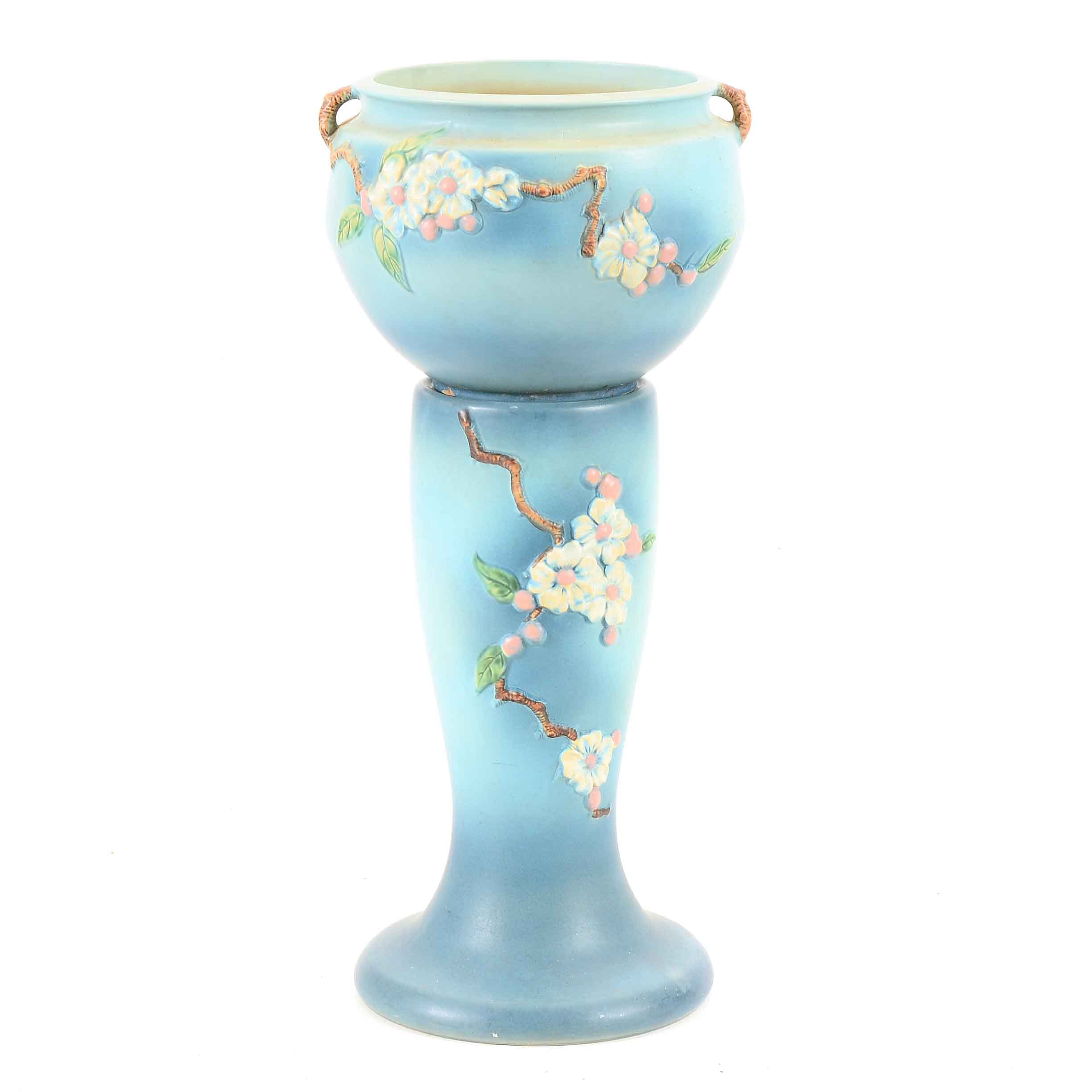 "Large Vintage Roseville ""Apple Blossom"" Jardiniere and Pedestal"