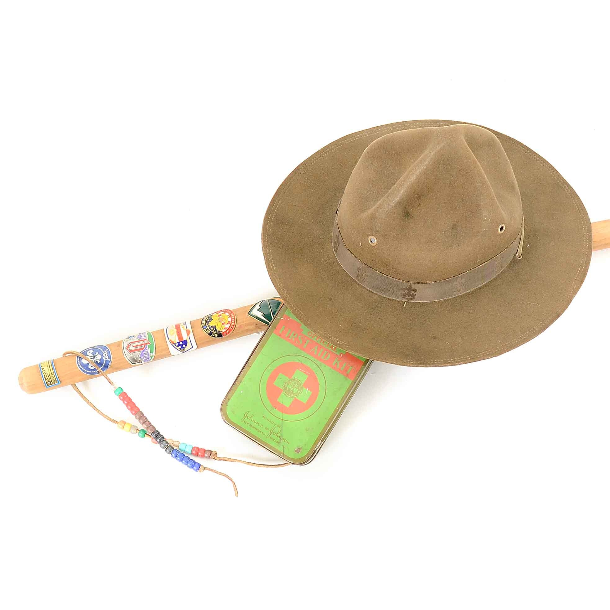 Boy Scouts of America Hat, Walking Stick and First Aid Tin
