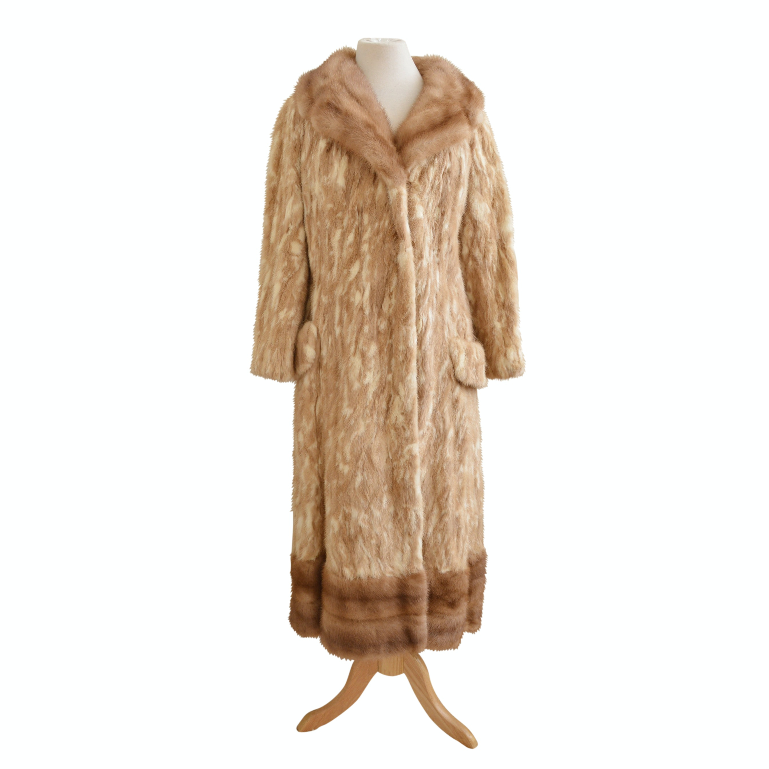 Vintage Dyed-Patterned Mink Fur Coat with Pastel Ranch Mink Fur Trim