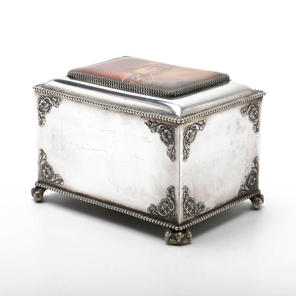 """Pairpoint Silver Plate Lidded Box, Signed """"A. Frederick"""""""