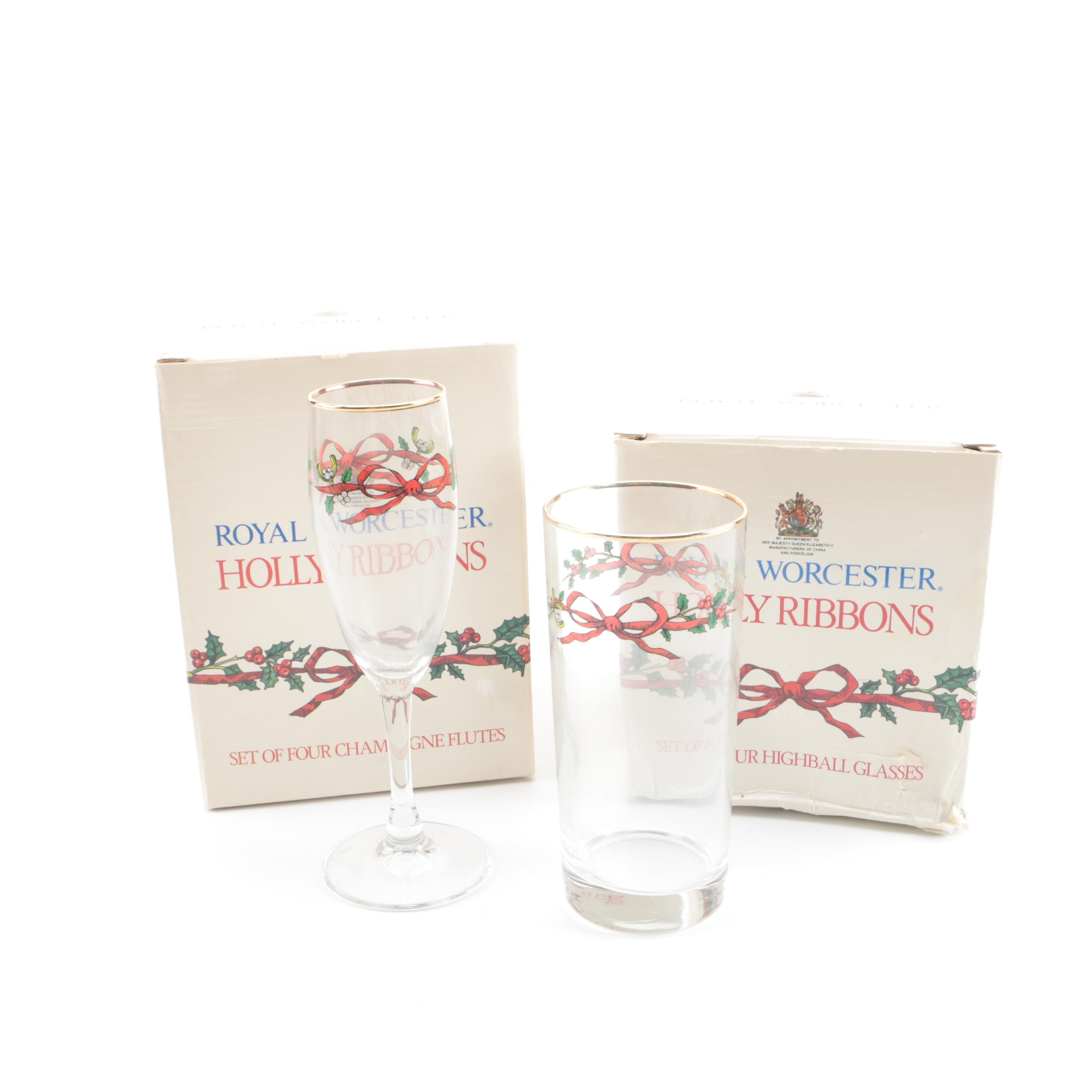 "Royal Worcester ""Holly Ribbons"" Champagne Flutes and Highball Glasses"