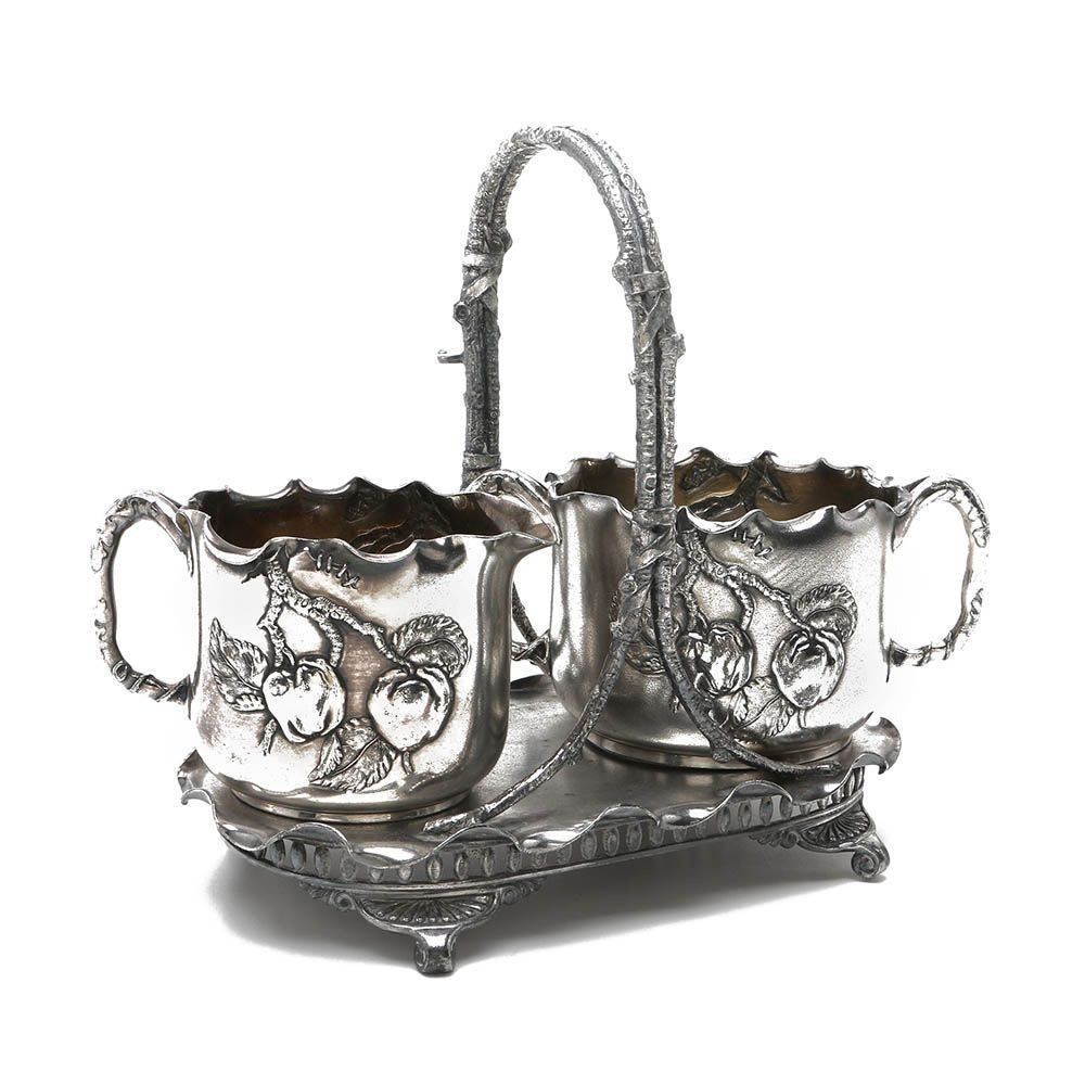 Pairpoint Silver Plate Cream and Sugar Set with Caddy