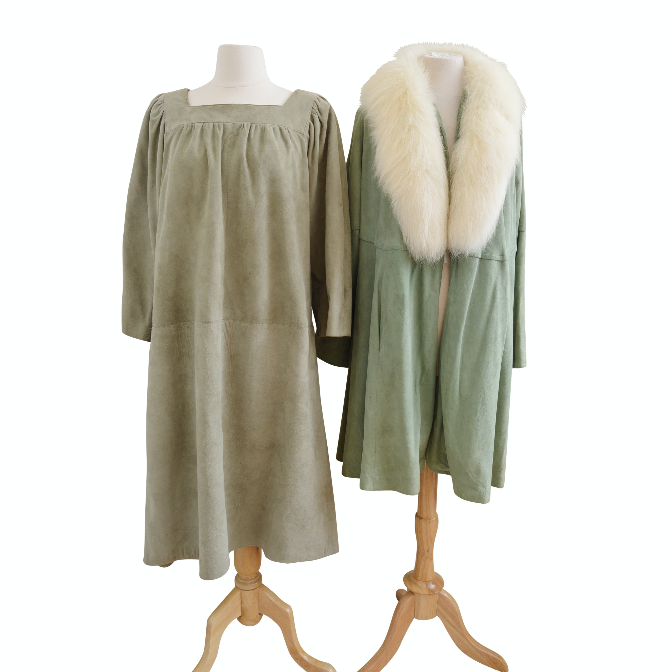 Vintage Olive Suede Dress and Field & Stream Olive Suede Coat with Fox Fur Trim