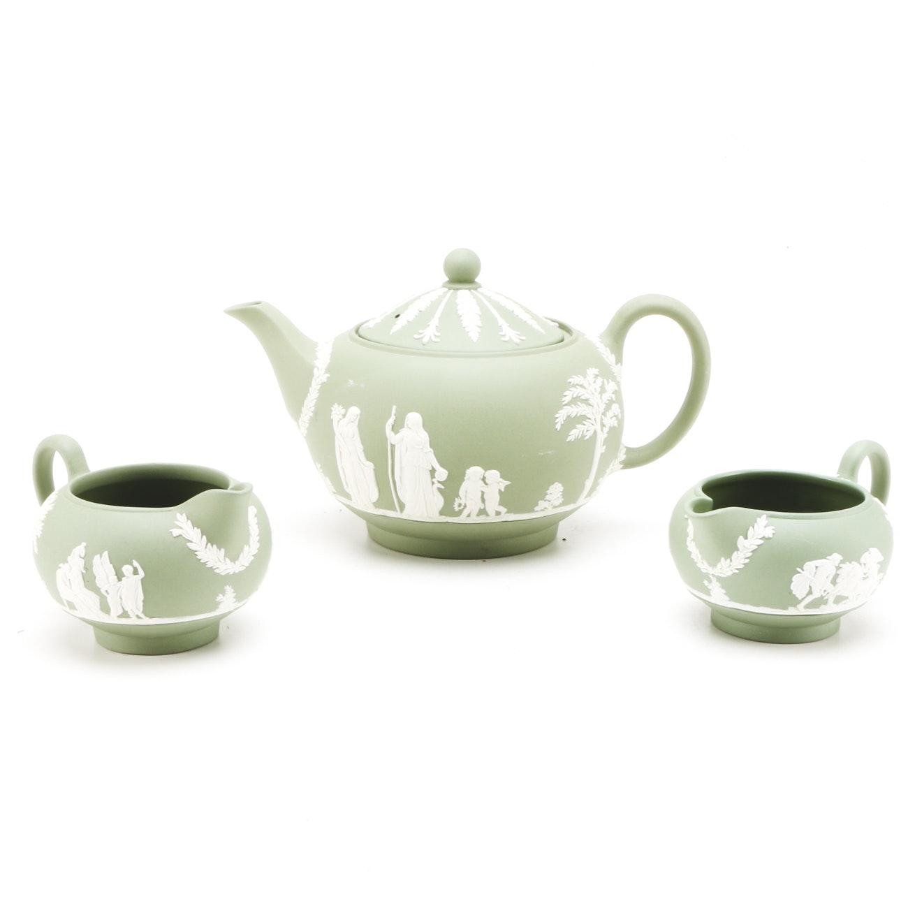 Wedgwood Jasperware Tea Pot and Creamers
