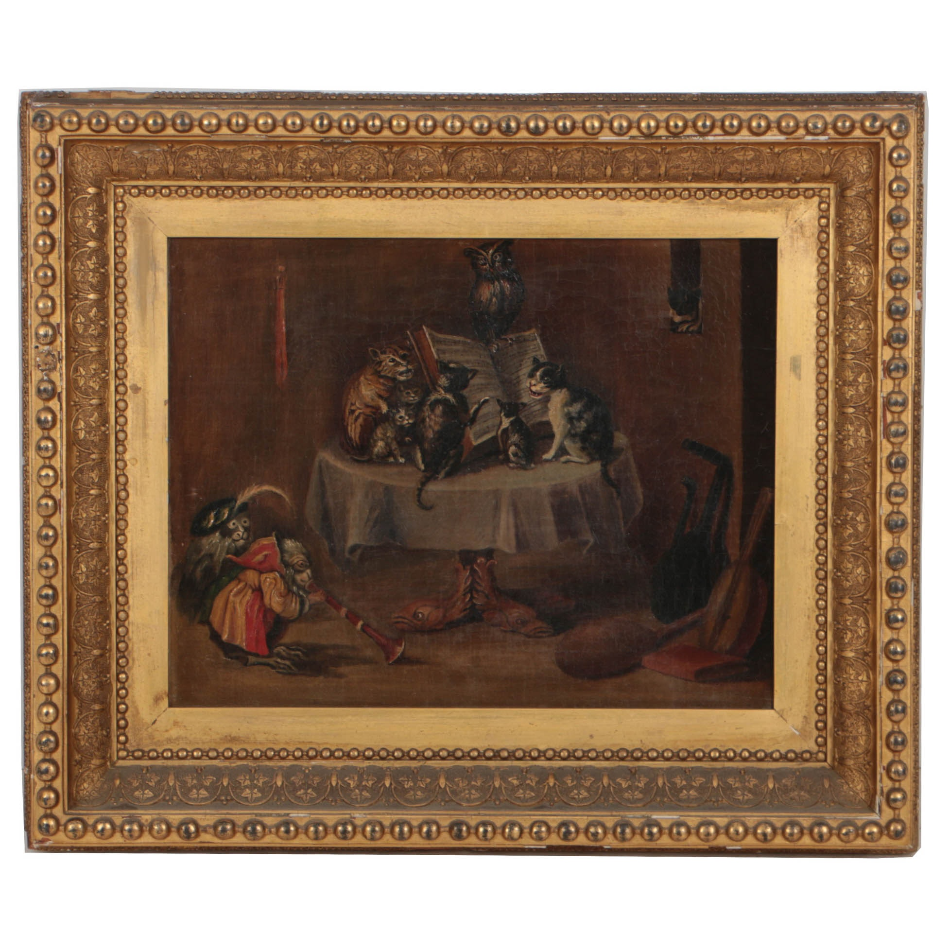 Antique Oil Painting on Canvas of Interior Scene with Animals