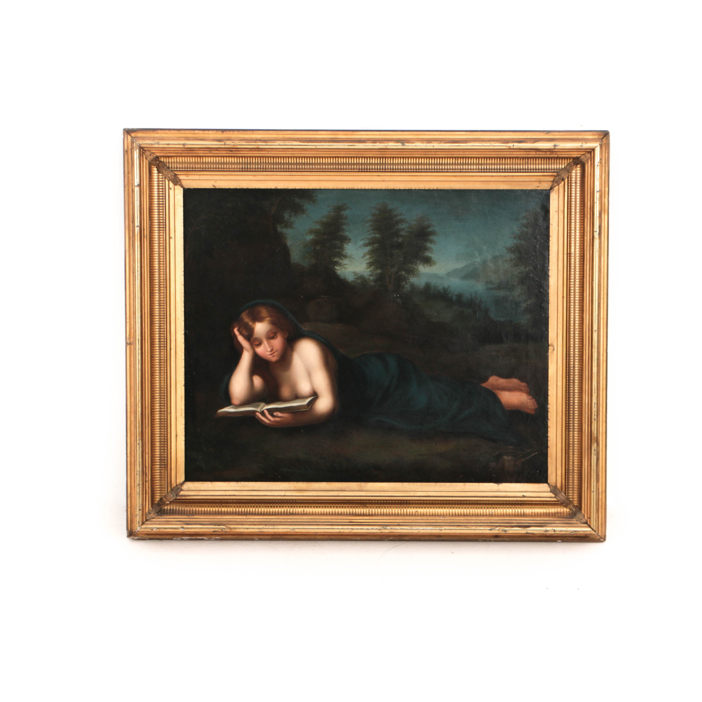 19th Century Oil Painting on Canvas of Reclining Neoclassical Figure