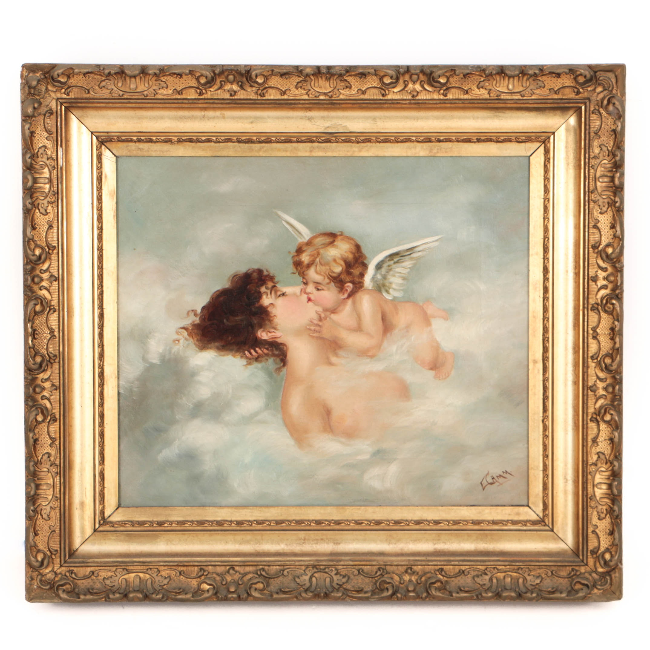 E. Camm Antique Oil Painting on Canvas Woman with a Cherub