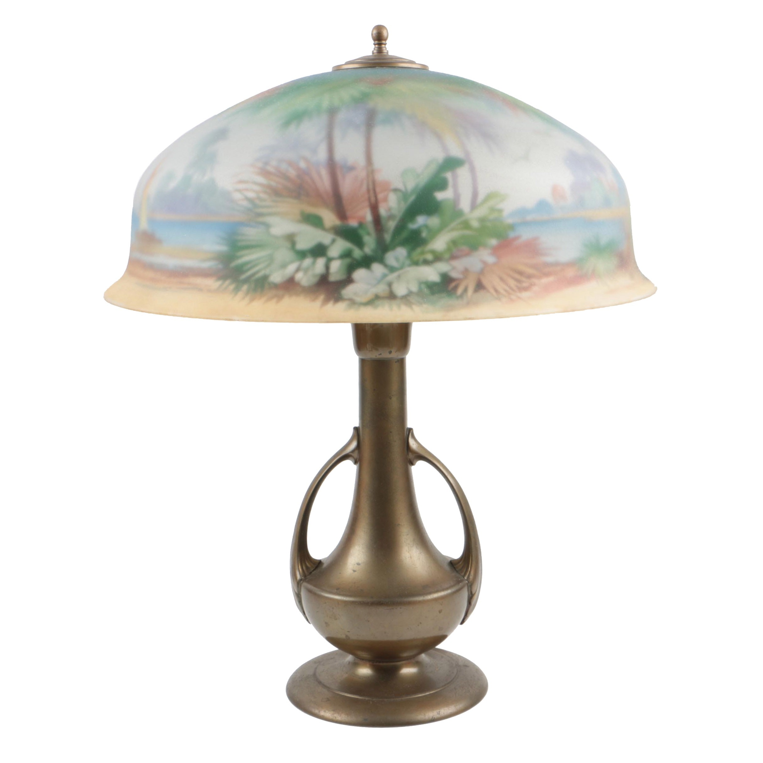 Vintage Pairpoint Lamp with Reverse Painted Tropical Landscape Shade