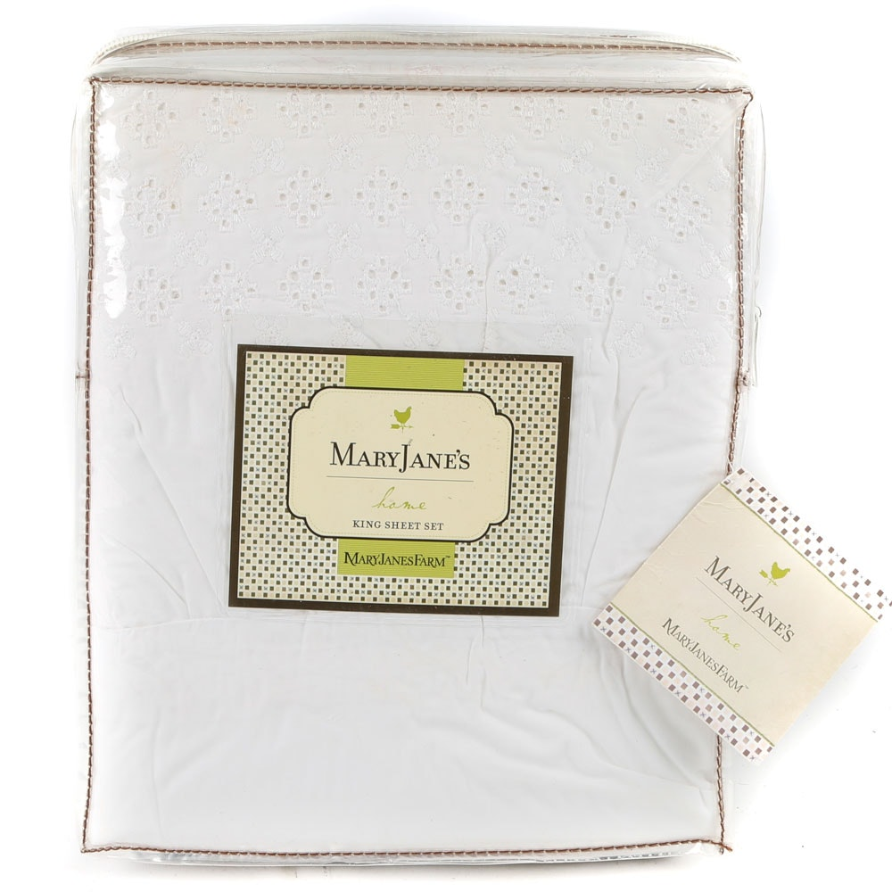MaryJane's Home King-Size Eyelet Sheet Set
