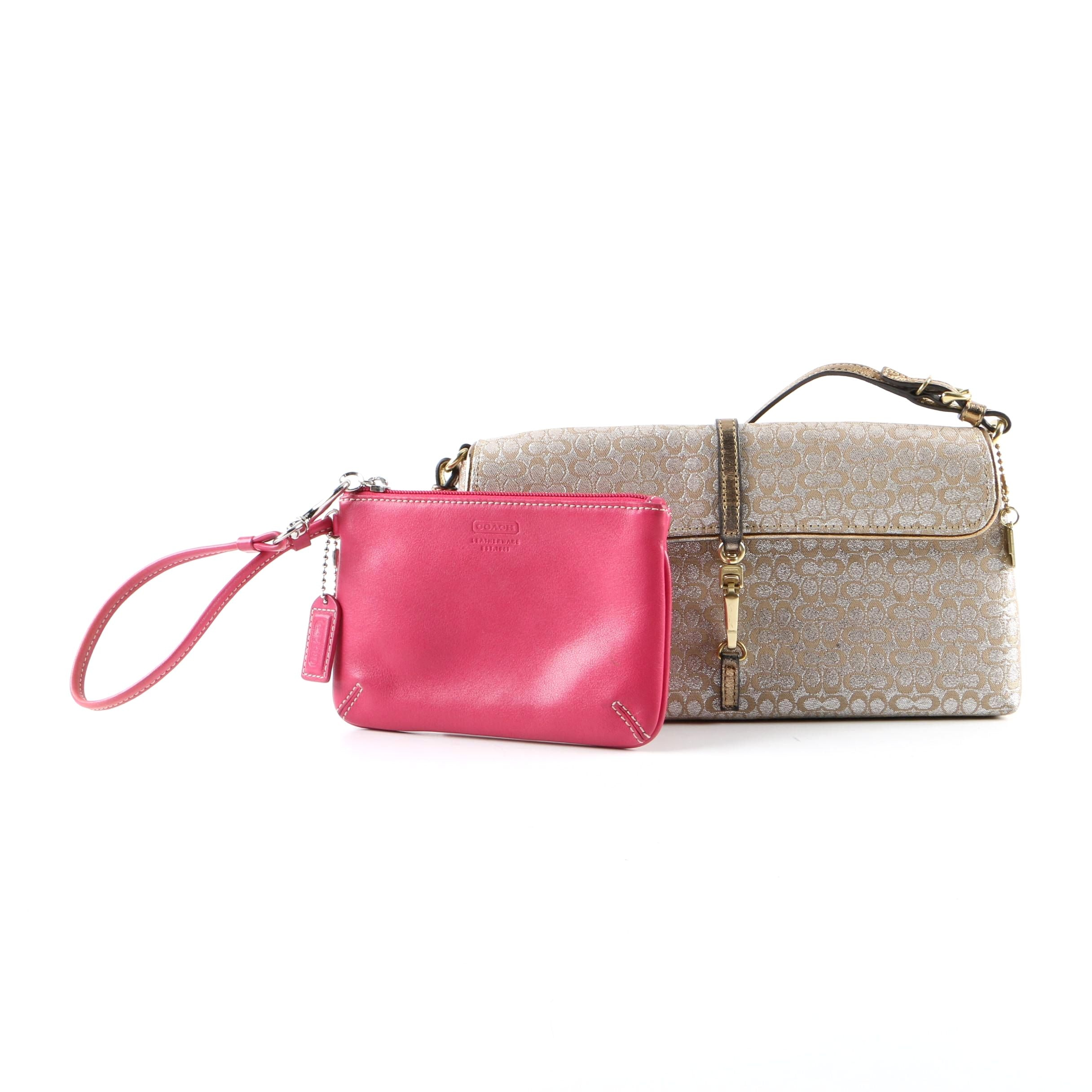 Coach Signature Canvas Clutch and Pink Leather Wristlet