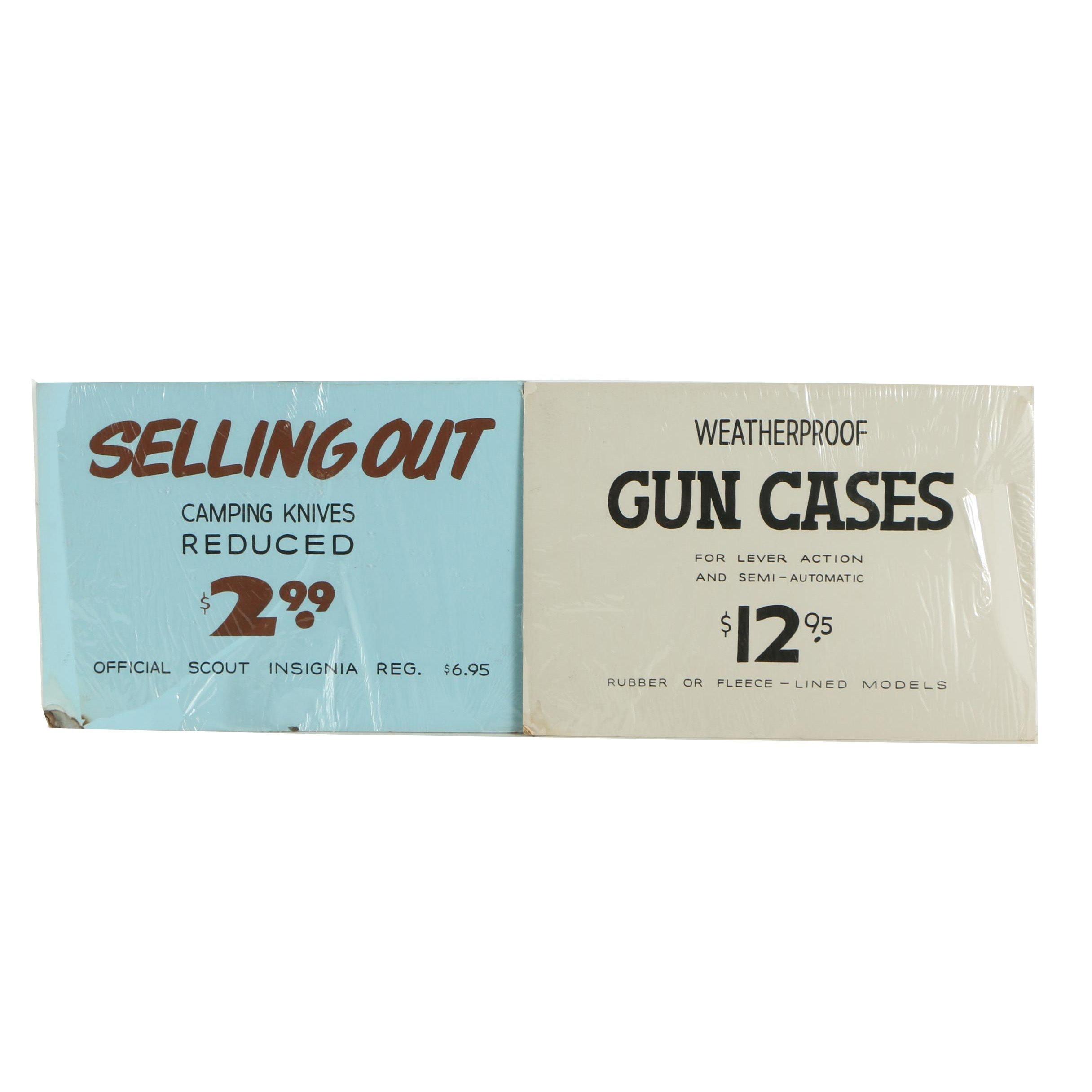 Vintage Handmade Gun Case and Knife Advertising Signs