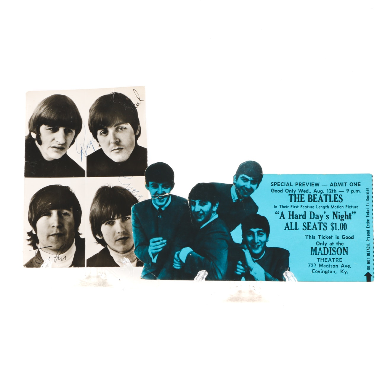 "Vintage Beatles ""Hard Days Night"" Ticket with Postcard"