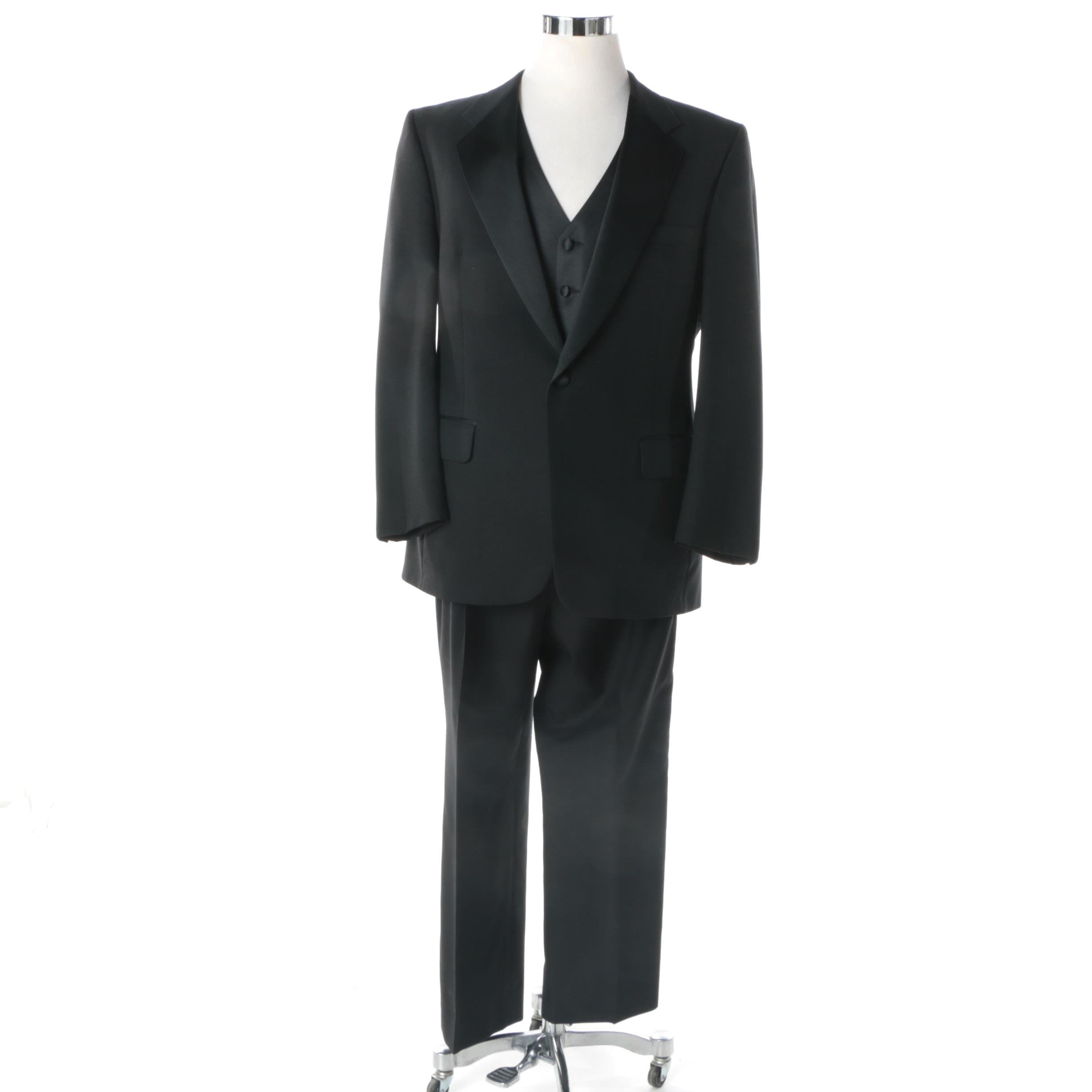 Men's Marshall Stuart Black Poly-Blend Three-Piece Tuxedo