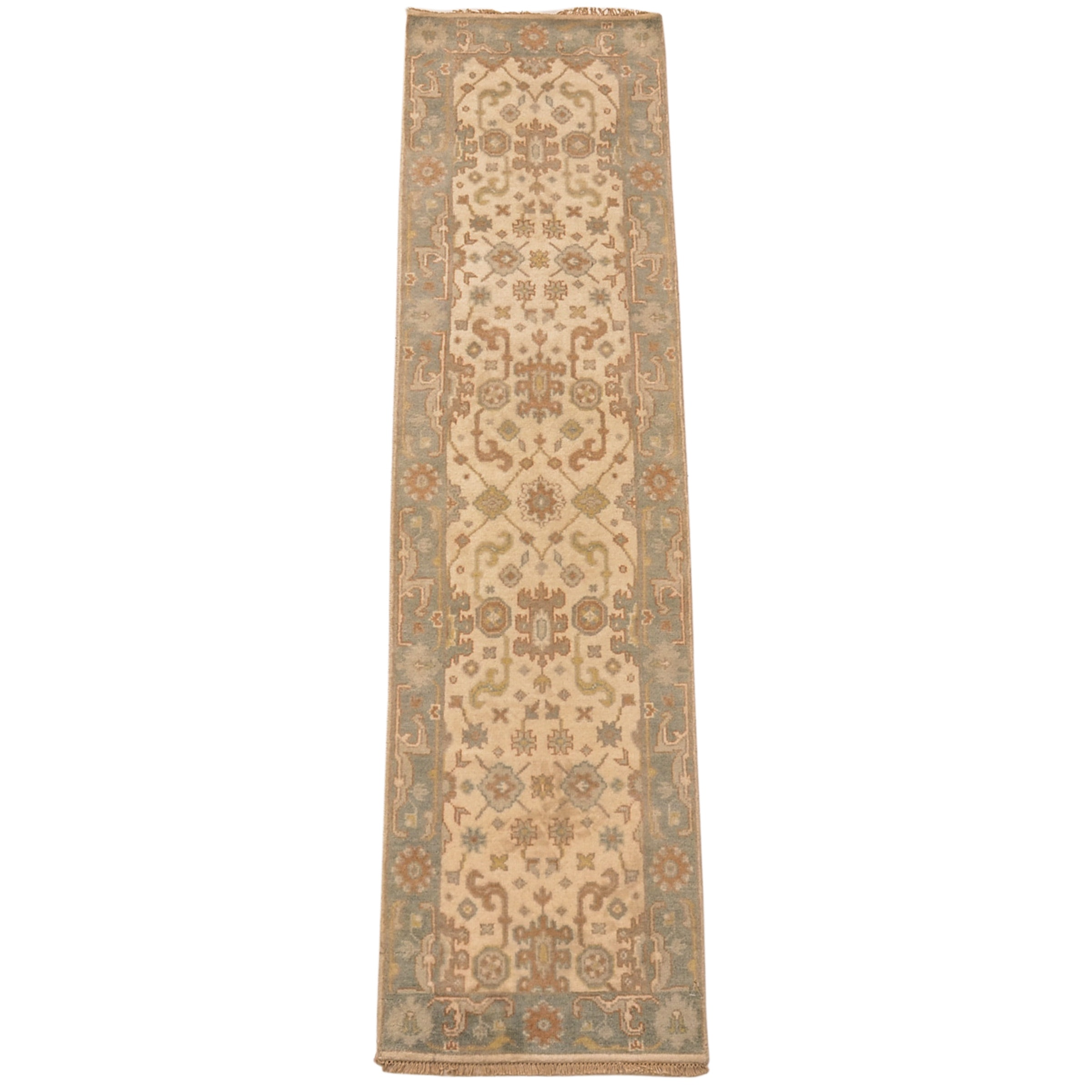 Hand-Knotted Oushak Chobi Carpet Runner