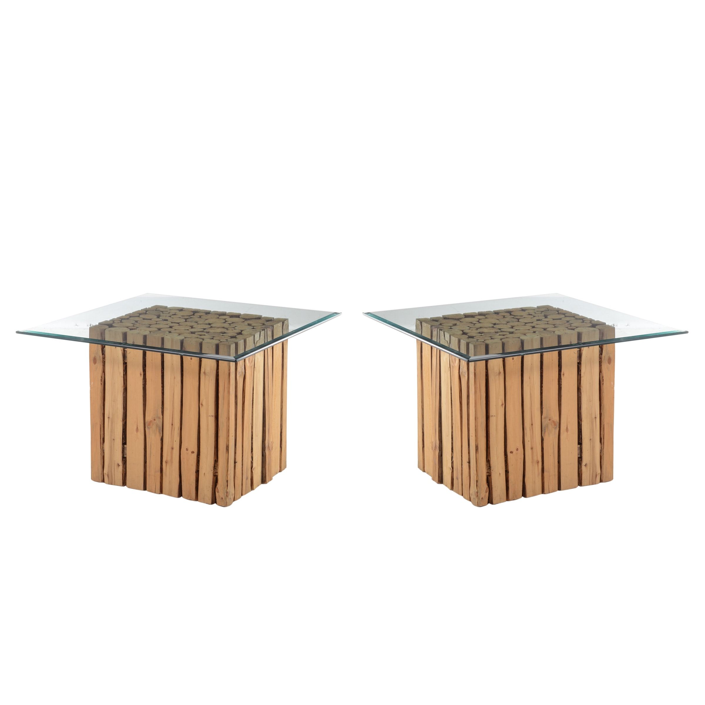 Pair of Contemporary Pine Log End Tables
