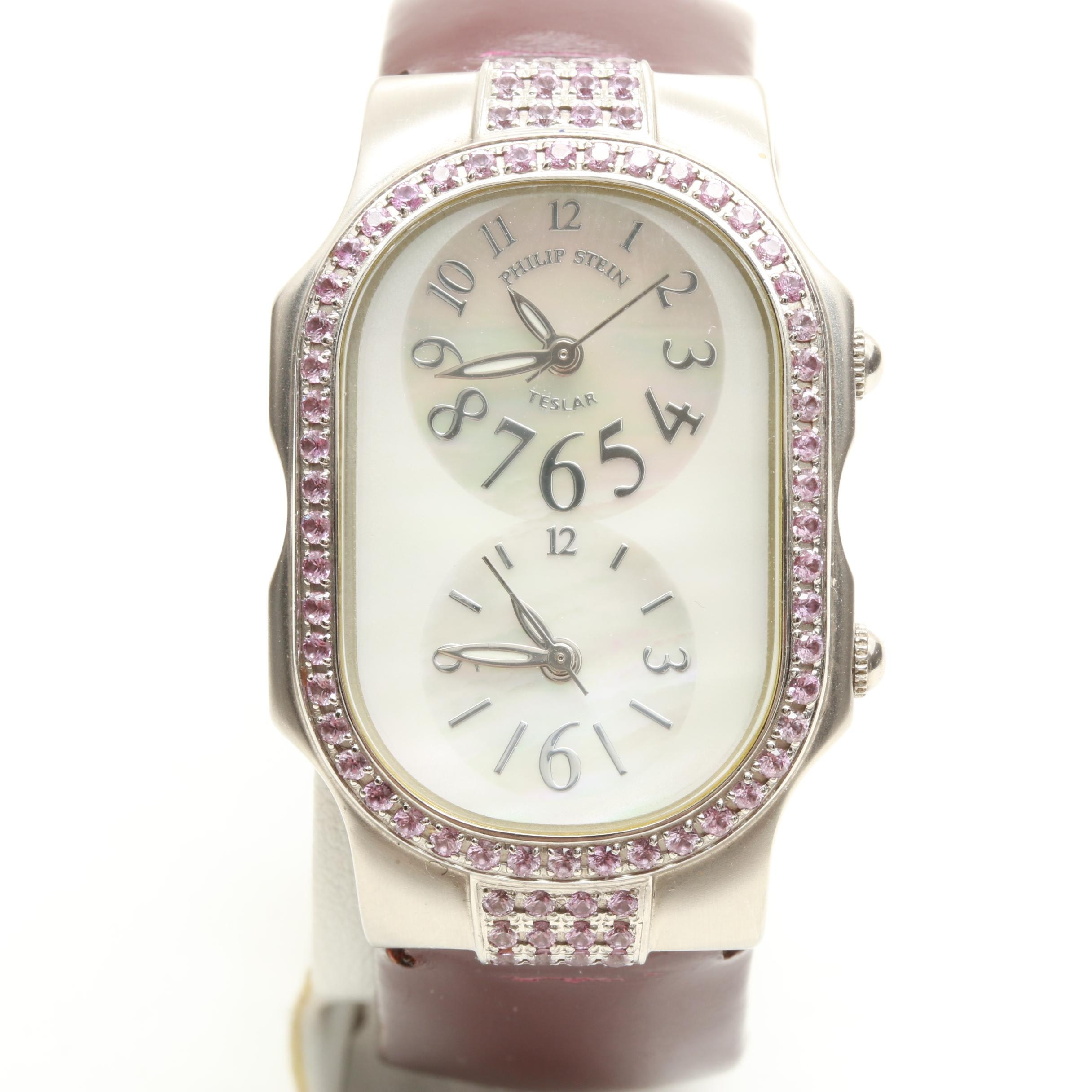 Philip Stein Teslar Stainless Steel Mother of Pearl and Pink Sapphire Wristwatch