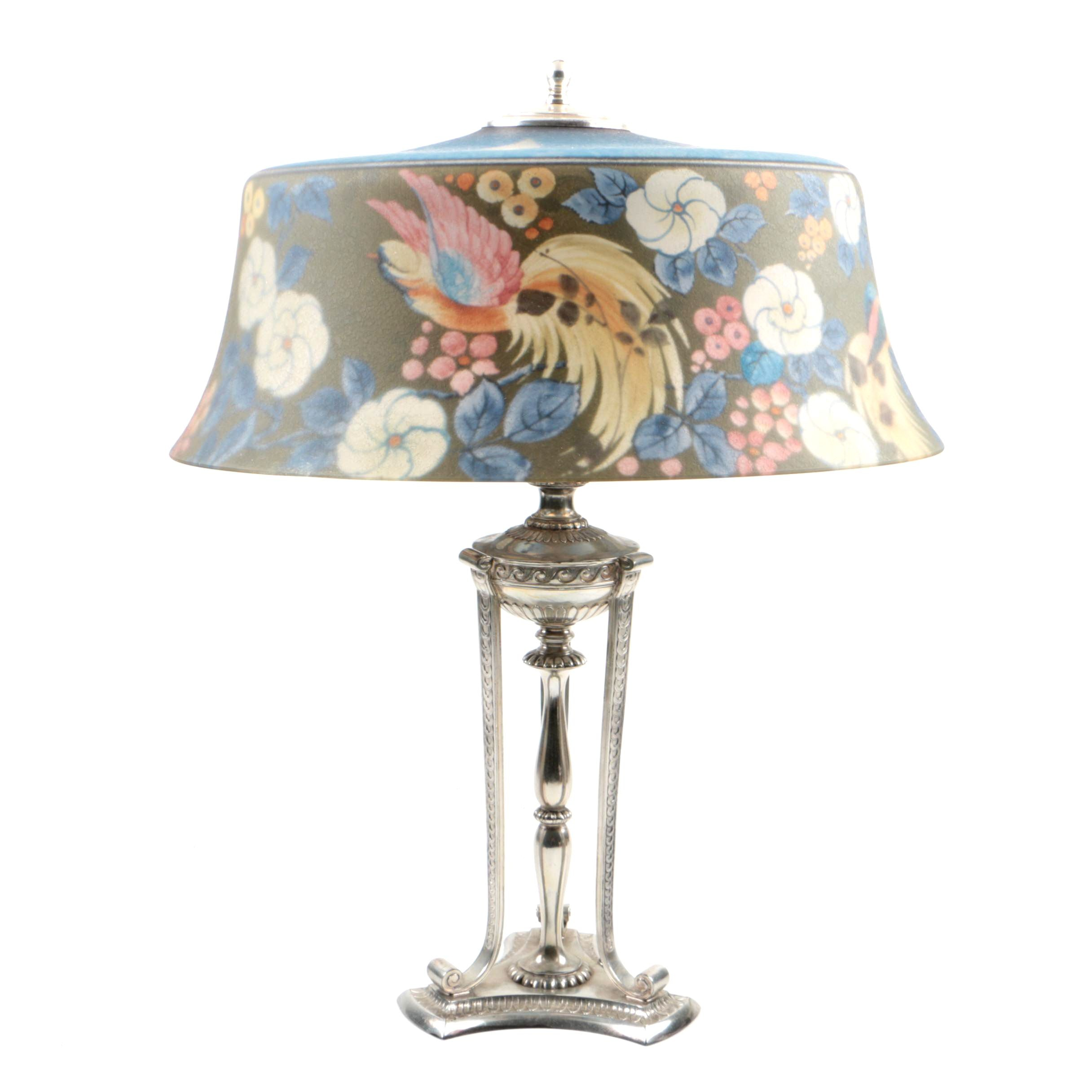 Pairpoint Table Lamp with Reverse-Painted Bird of Paradise Glass Shade