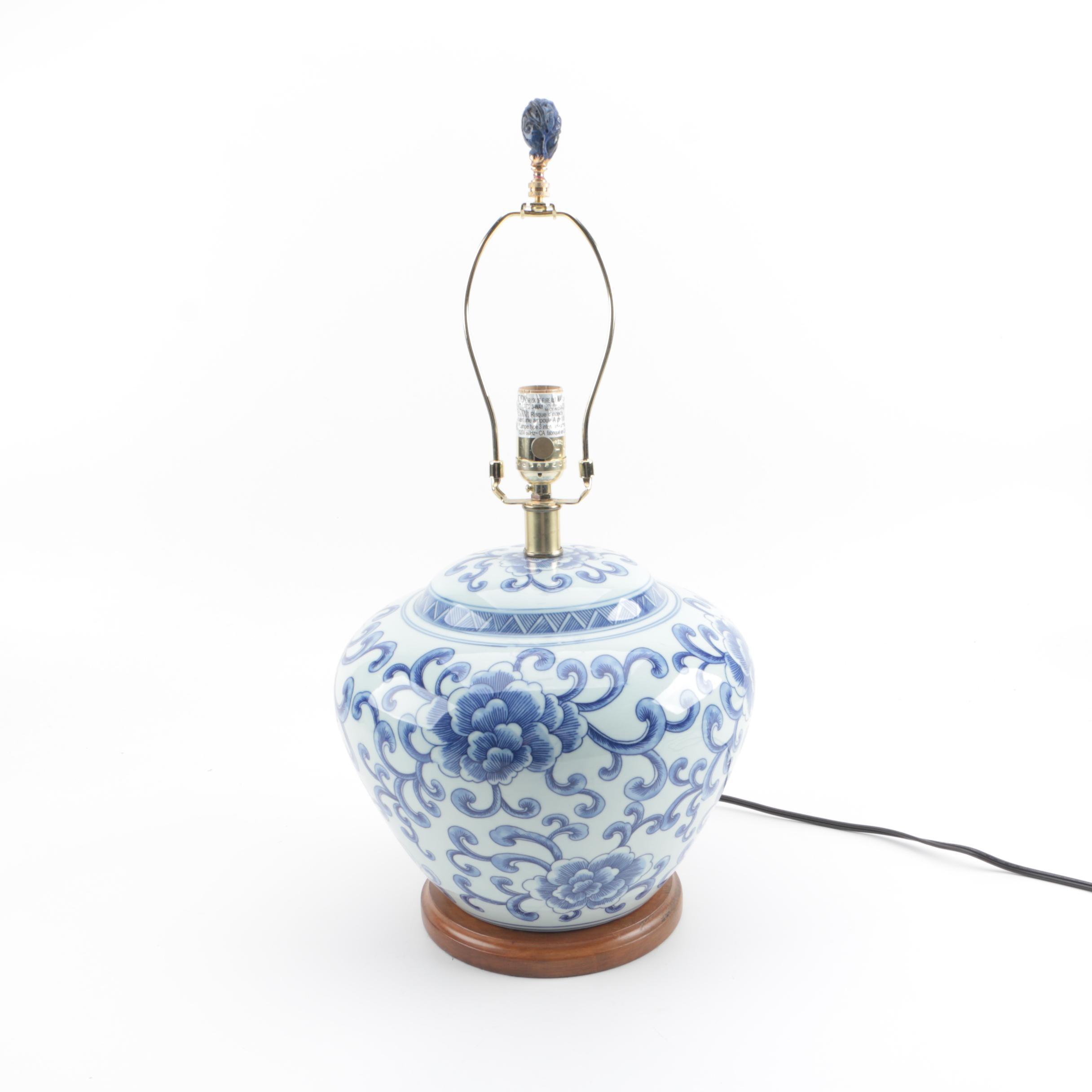 Ralph Lauren Blue and White Lotus Ginger Jar Porcelain Lamp