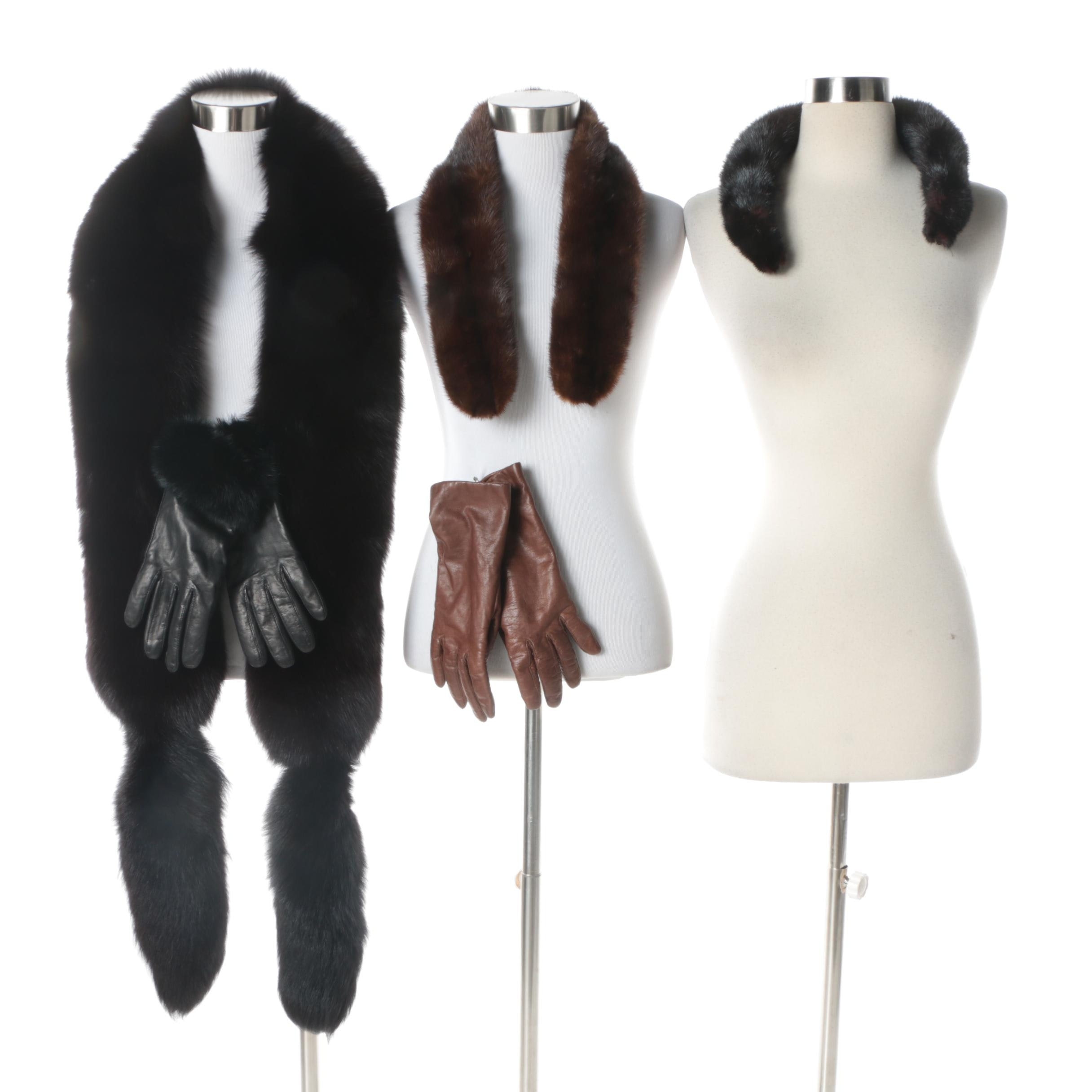 Vintage Fox Fur Stole, Mink Fur Collars and Leather Gloves