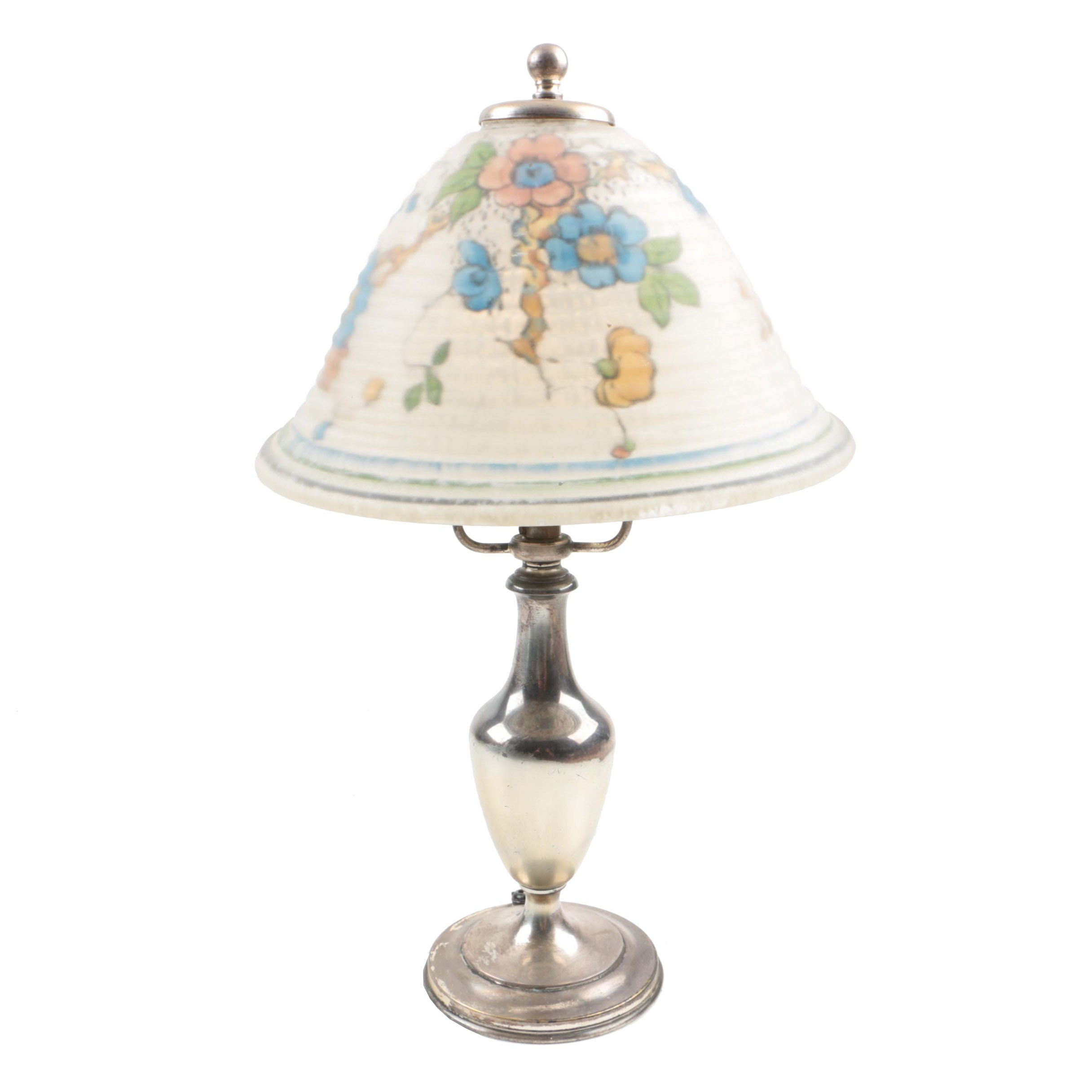 Vintage Pairpoint Reverse Painted Glass and Silver-Tone Desk Lamp