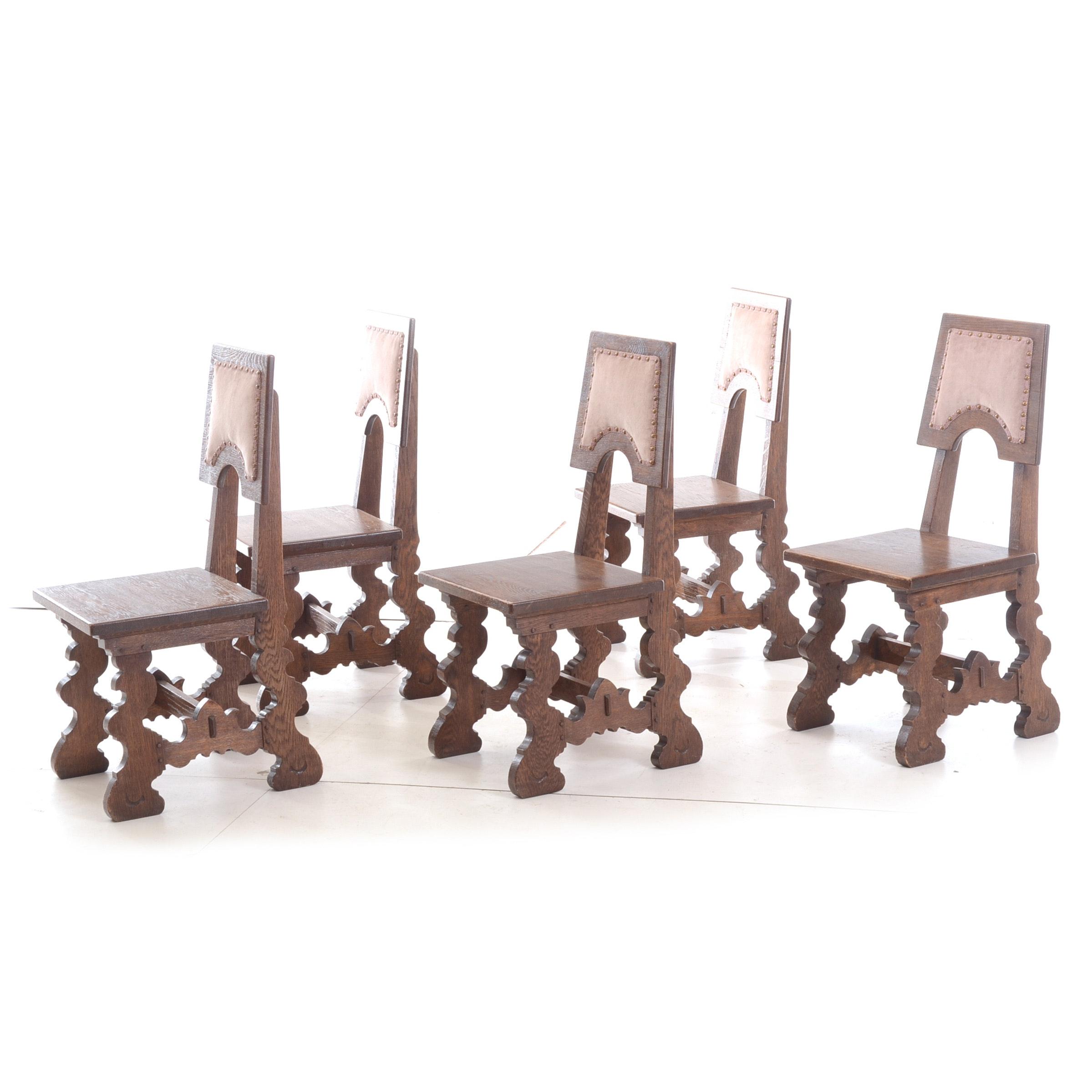 Spanish Style Five Oak Side Chairs