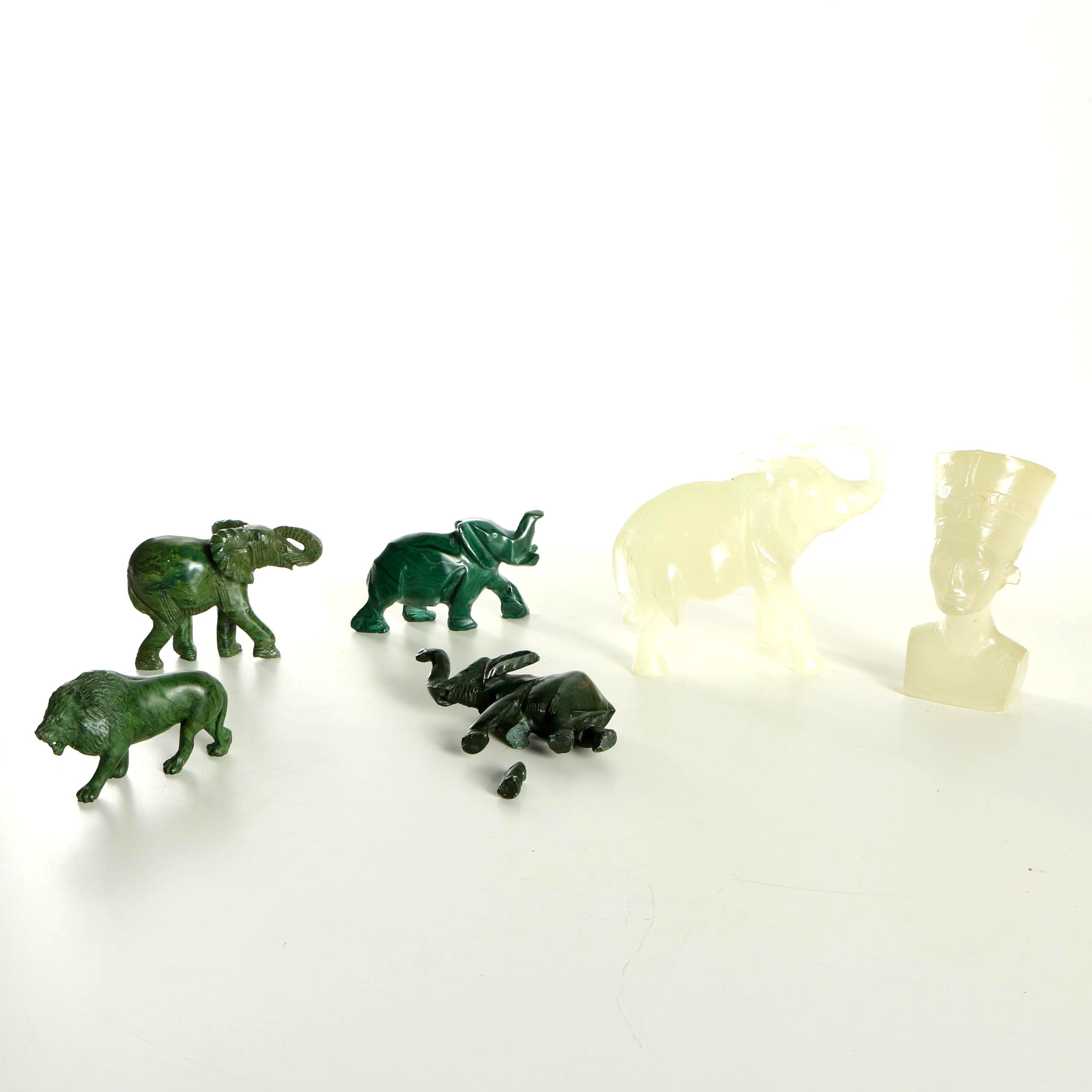 Carved Stone and Resin Figurines including Serpentine and Malachite