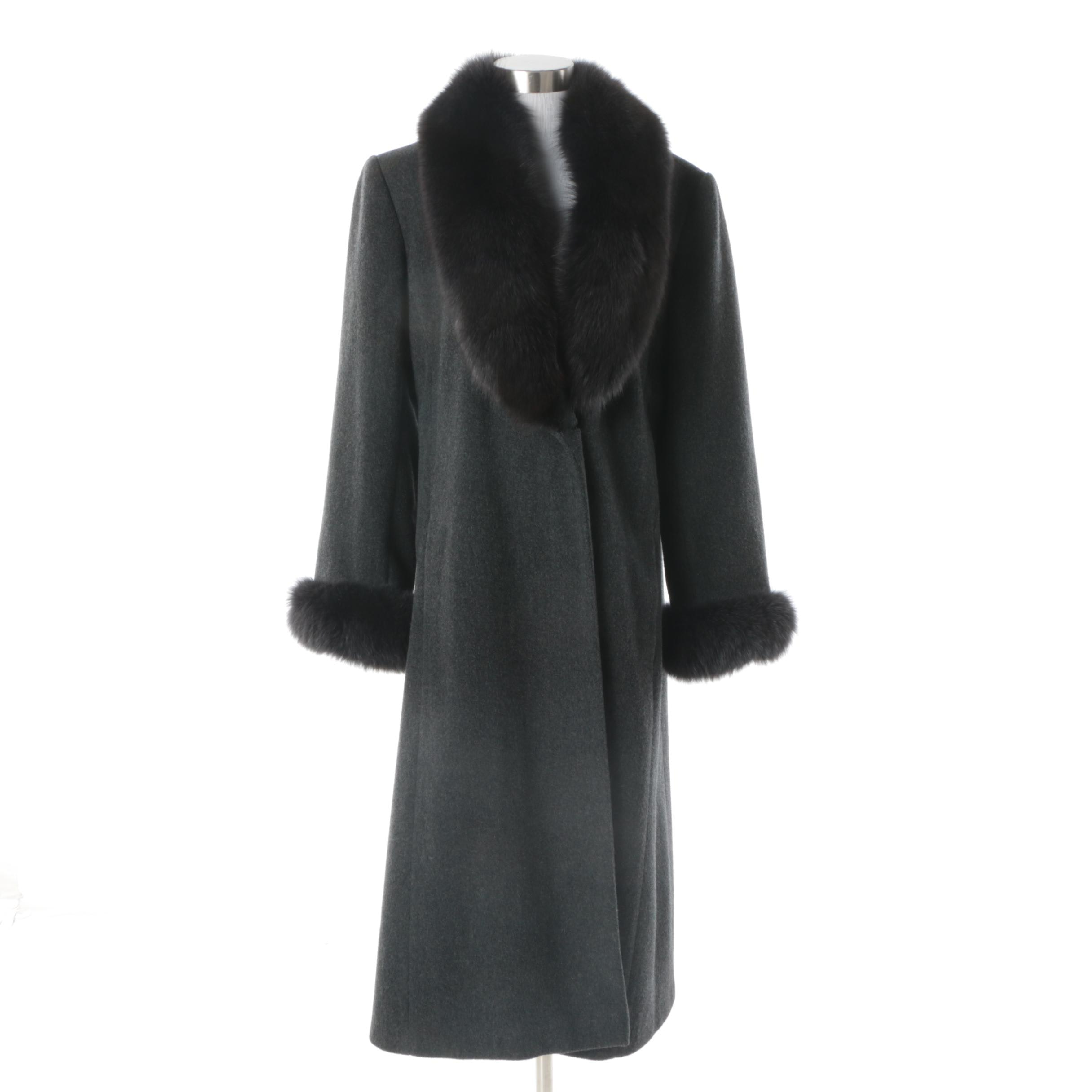 Women's Marvin Richards Lambswool Coat with Fox Fur Collar and Cuffs