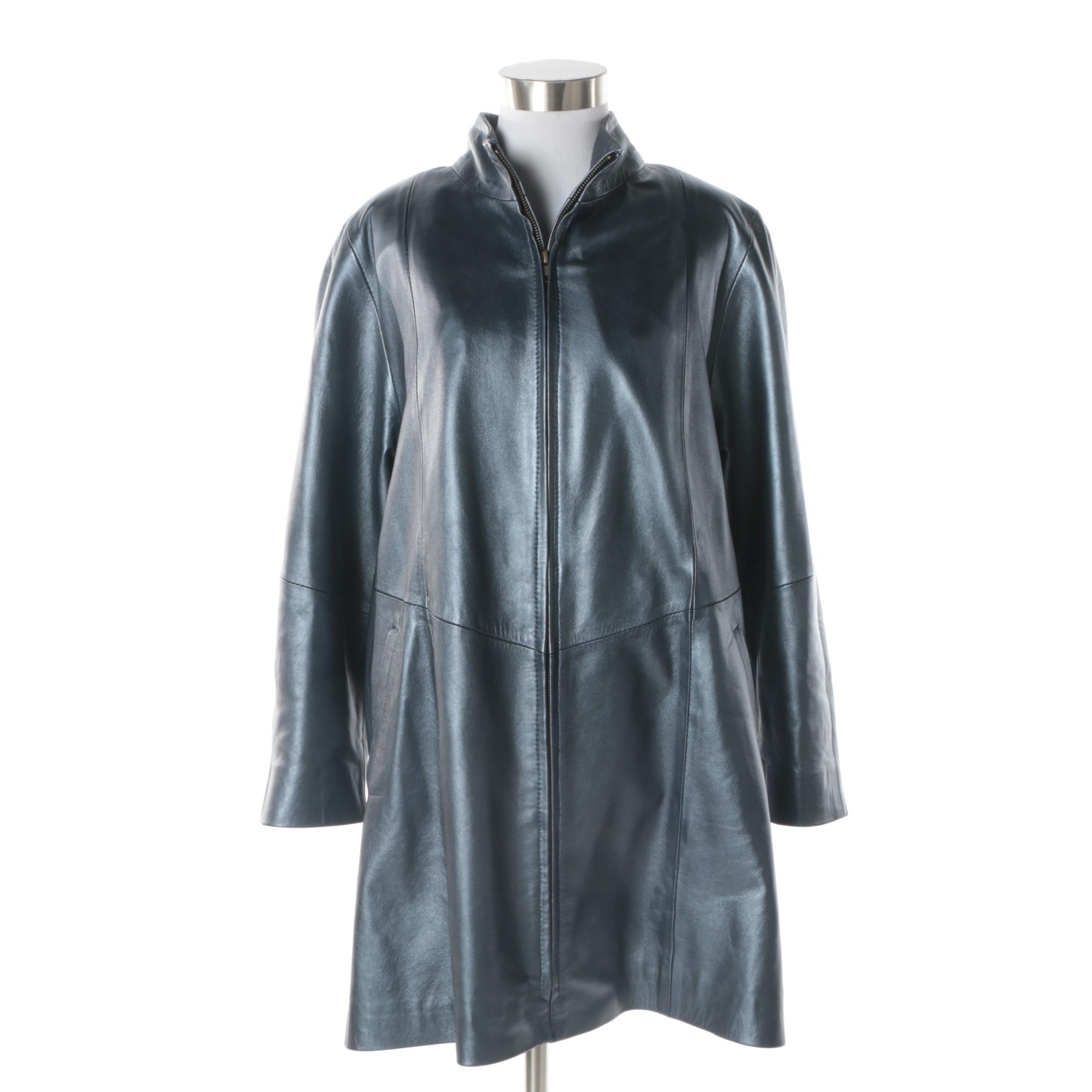 Women's Image Leather Metallic Blue Leather Jacket