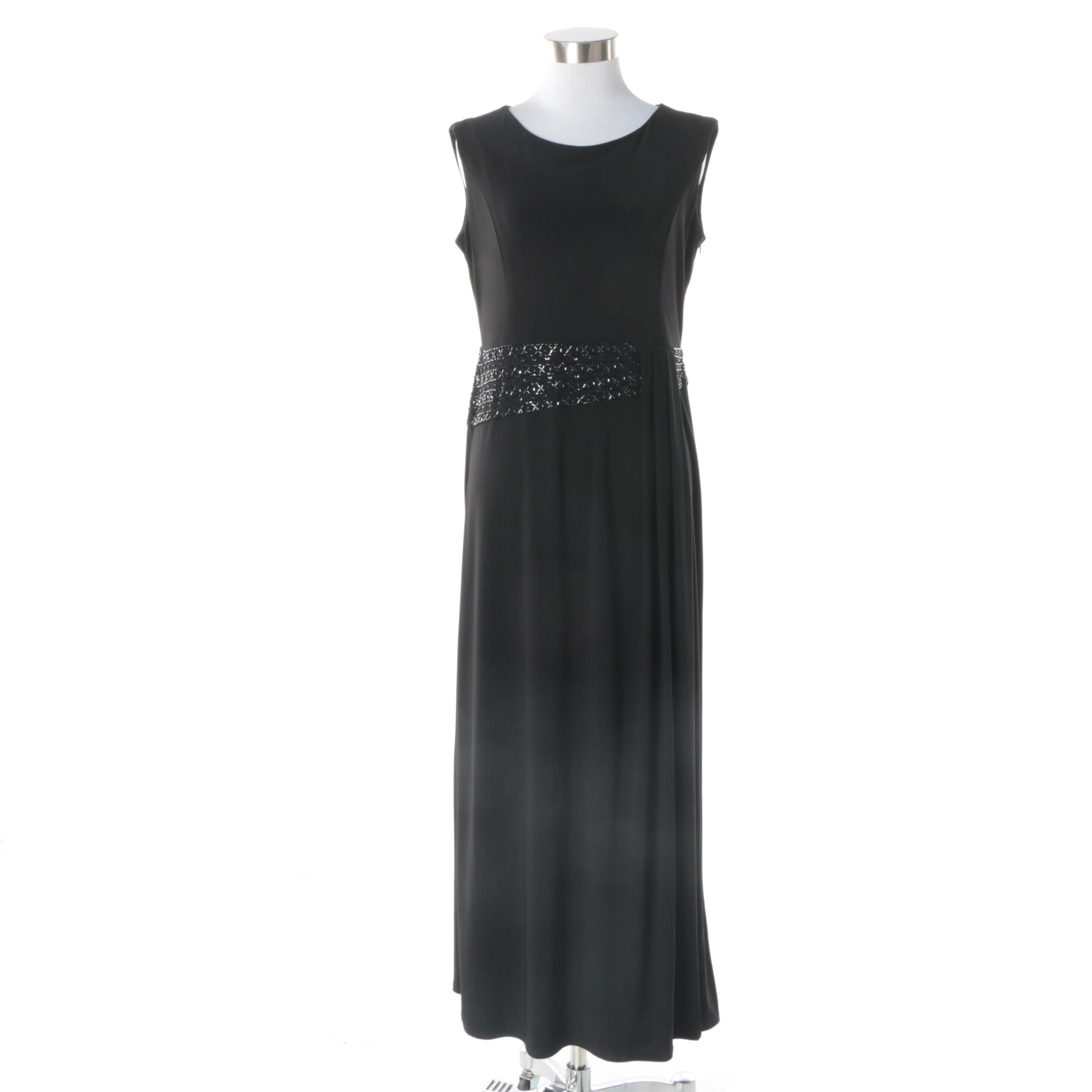 Women's R&M Richards Petite Black Sheath Embellished Sleeveless Evening Gown