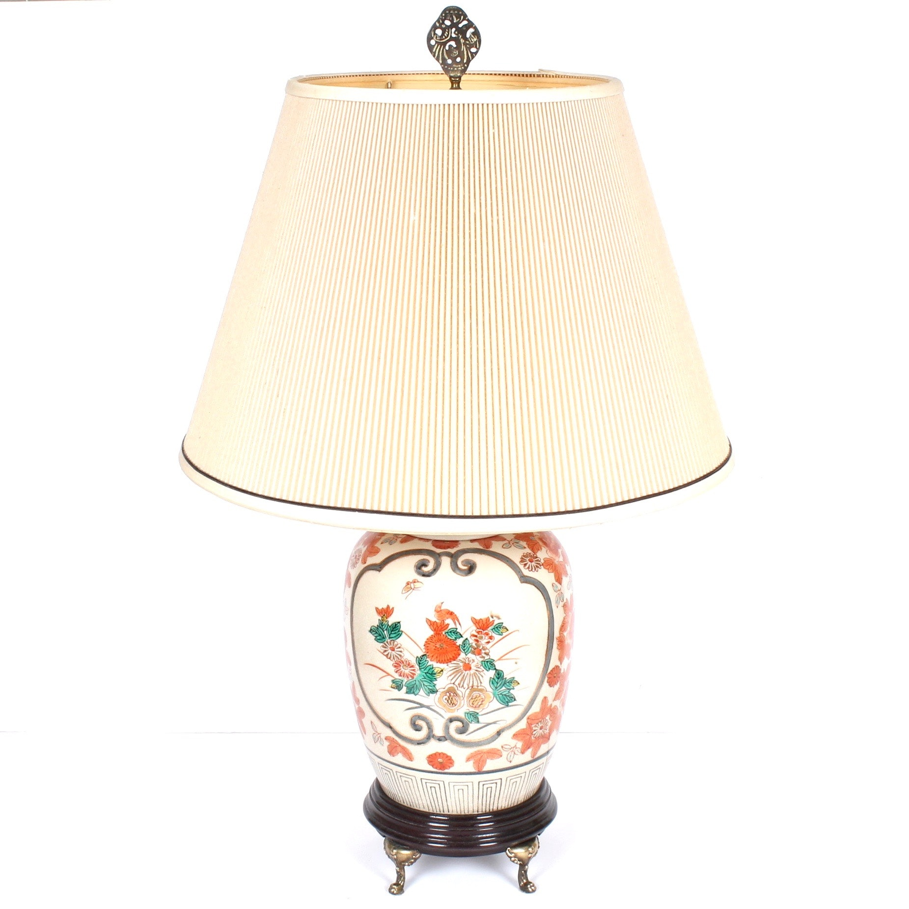 Vintage Chinese Brass Footed Ceramic Table Lamp