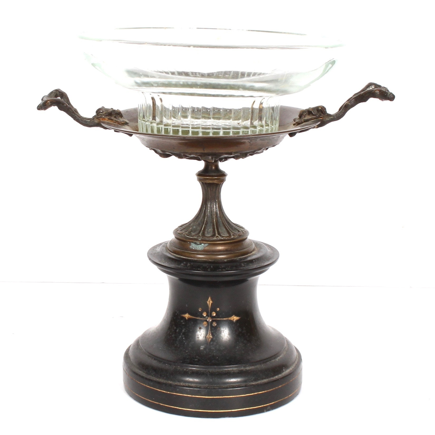 Antique French Glass and Bronze Compote on Marble Plinth