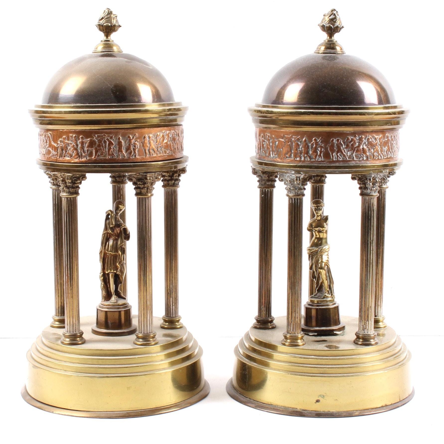 Vintage Brass Roman Style Temple Figurals