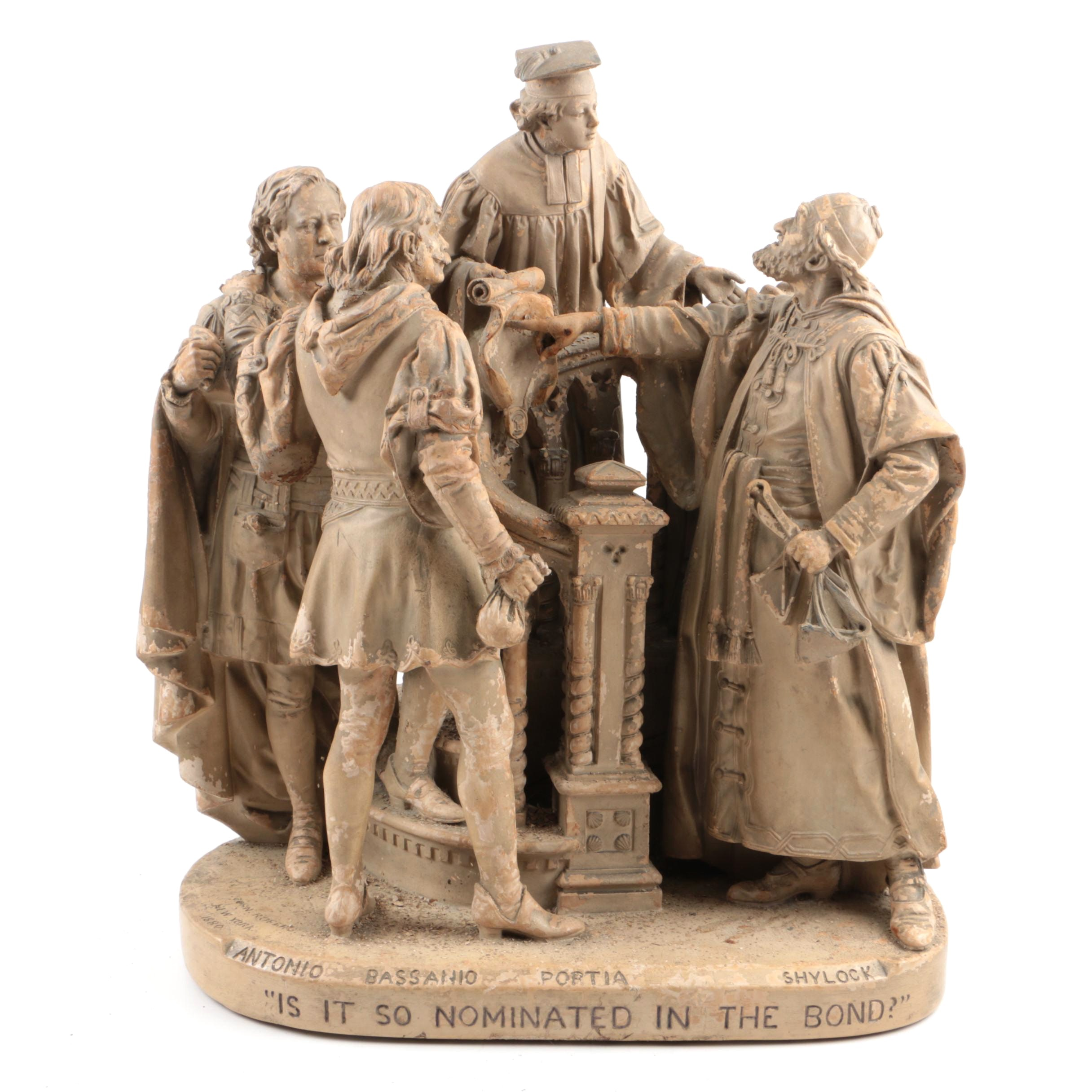 """John Rogers Painted Plaster Sculpture """"Is it so Nominated..."""""""