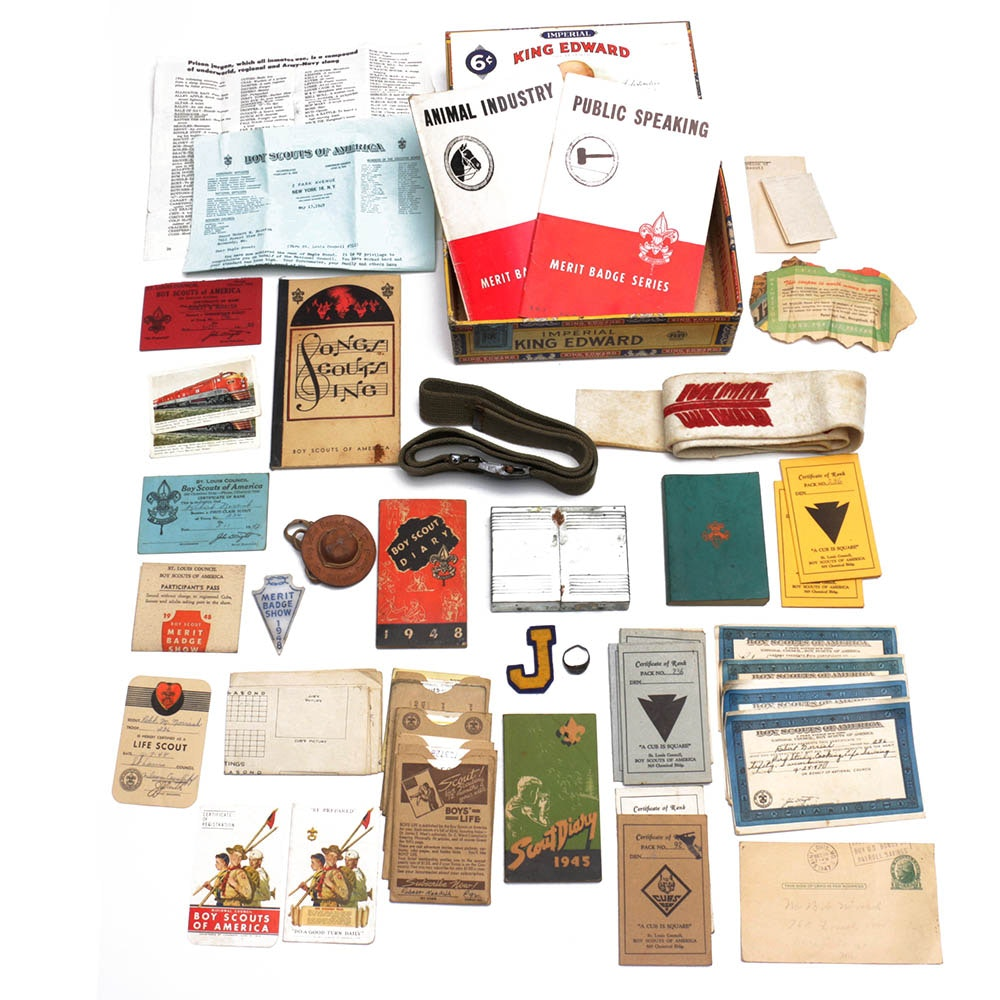 Boy Scout Memorabilia in King Edward Cigar Box