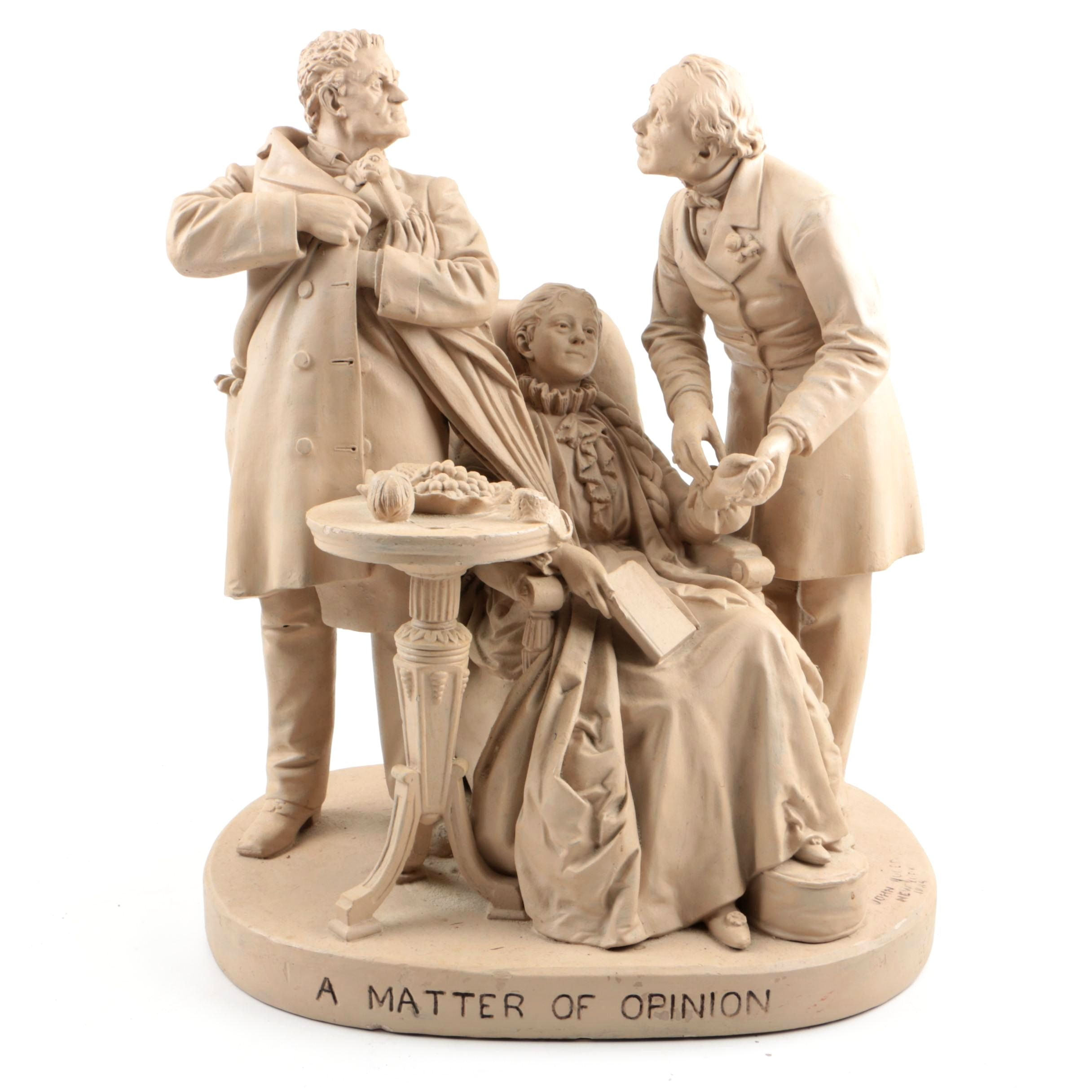 """John Rogers Painted Plaster Sculpture """"A Matter of Opinion"""""""
