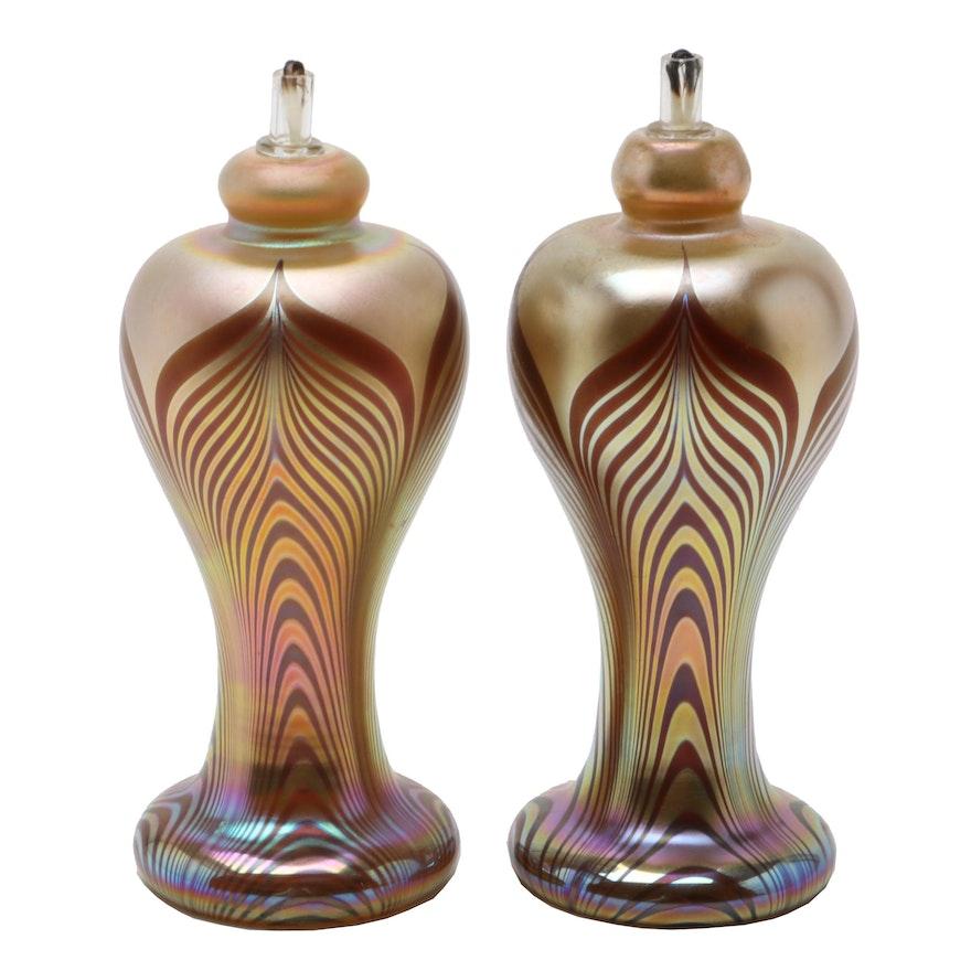 Stuart Abelman Art Glass Oil Lamps