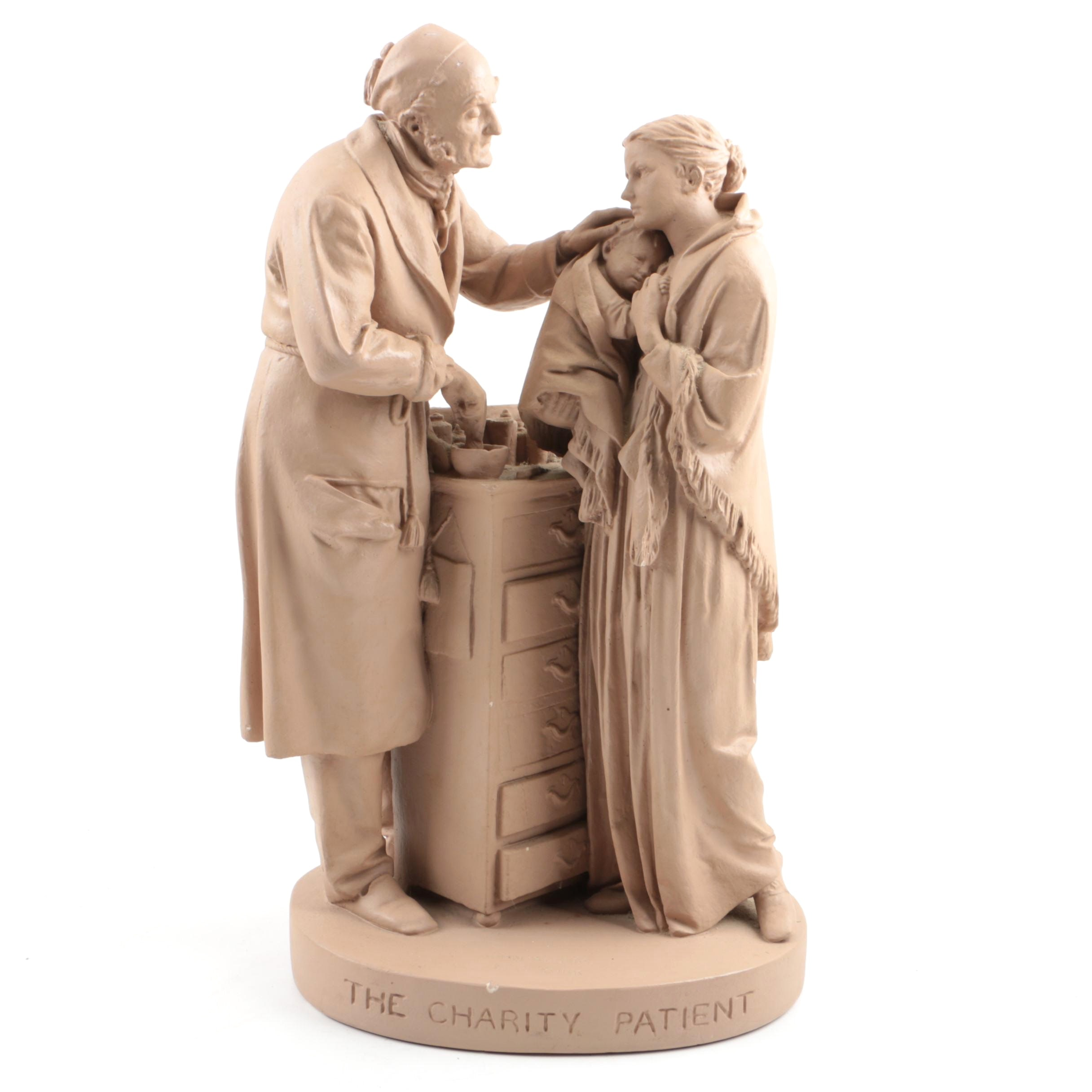 """John Rogers Painted Plaster Sculpture """"The Charity Patient"""""""