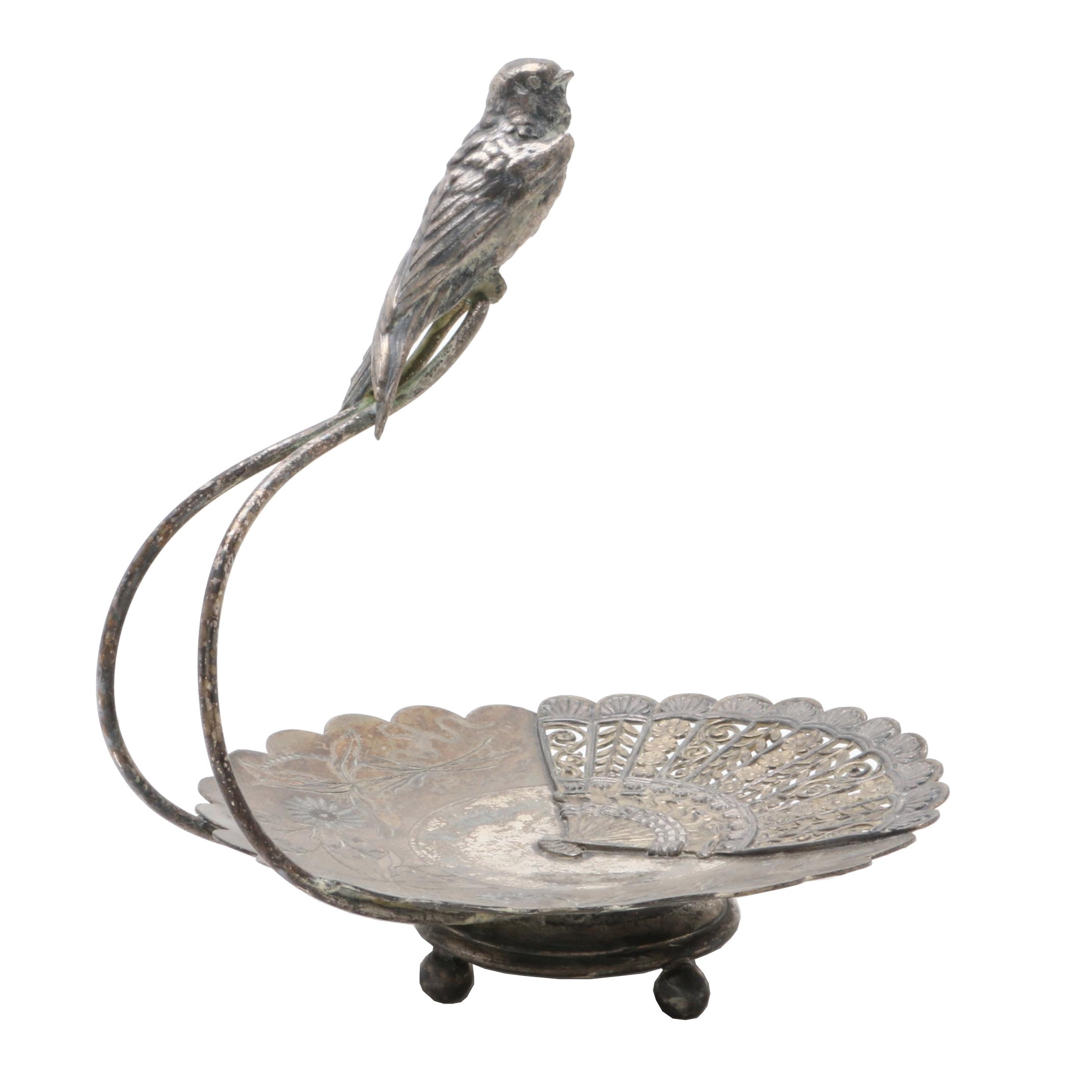 Pairpoint Silver Plate Handled Tray With Bird
