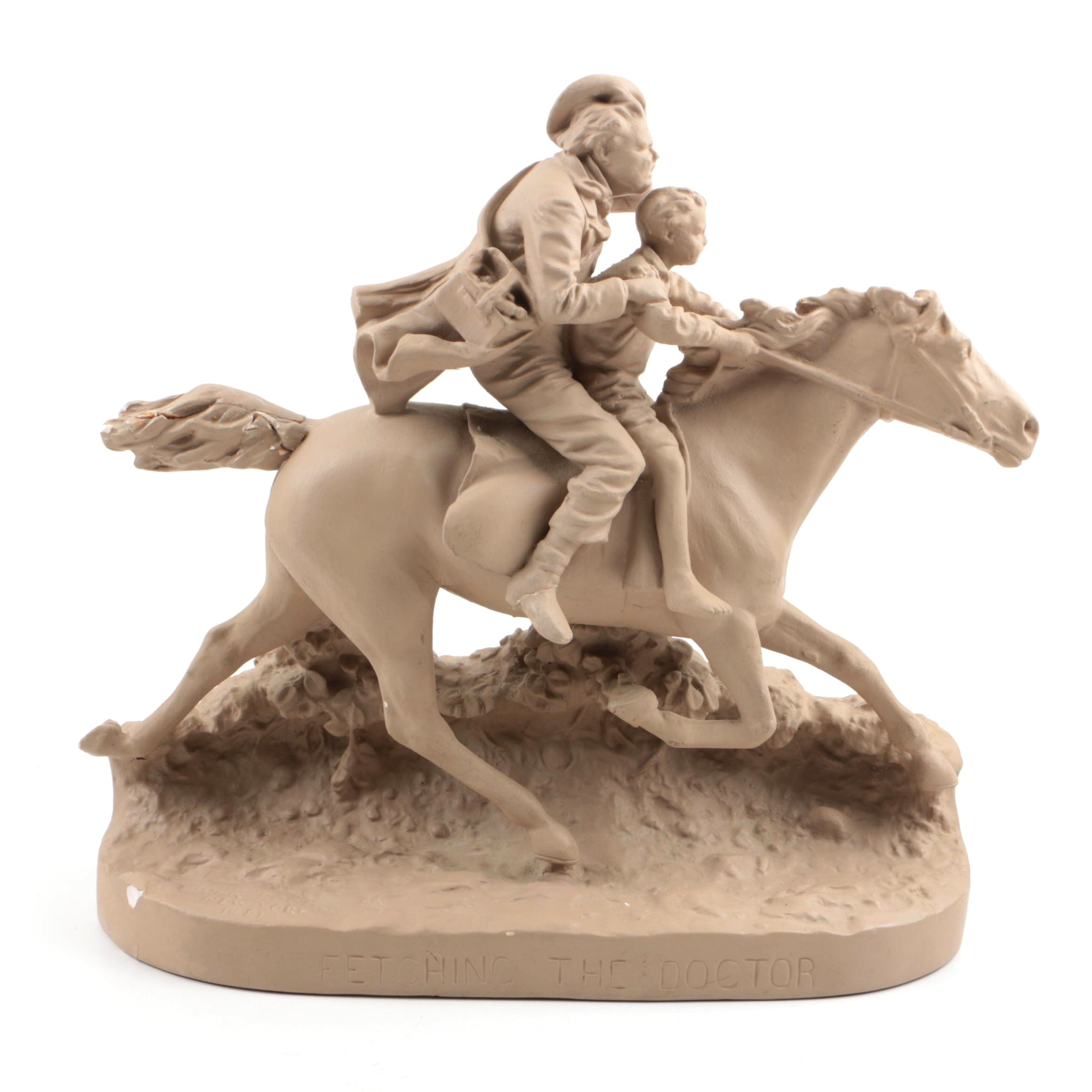 """John Rogers Painted Plaster Sculpture """"Fetching the Doctor"""""""