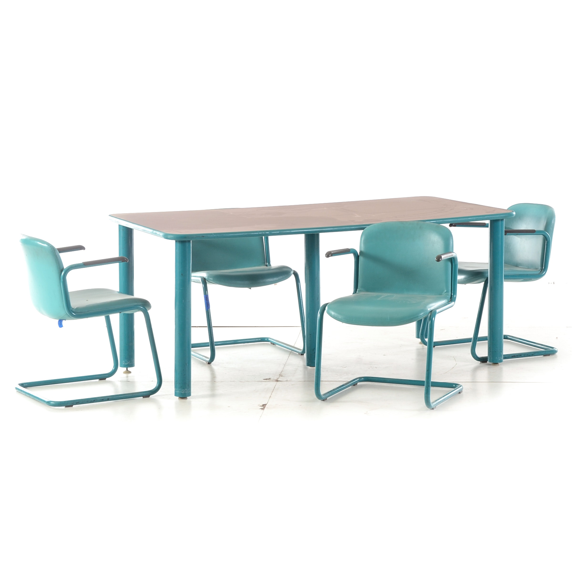 Aqua Metal Table and Four Cantilevered Chairs