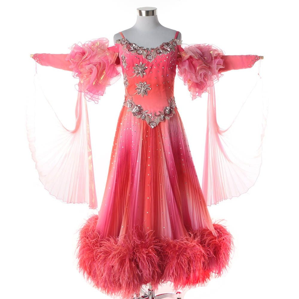 Women's Custom Pink Embellished Ballroom Dancing Gown with Ostrich Feather Hem