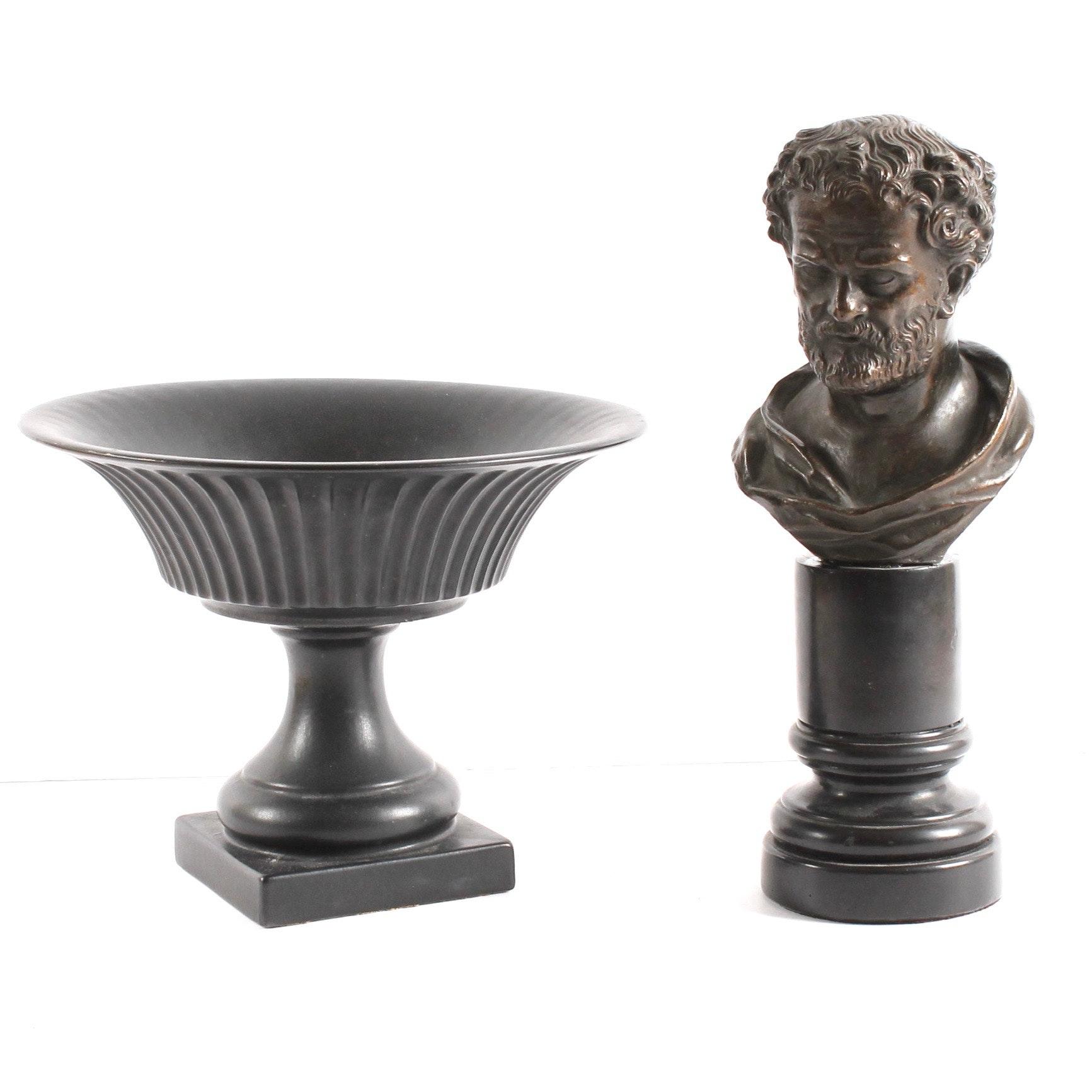 Vintage Plaster Bust and Ceramic Urn