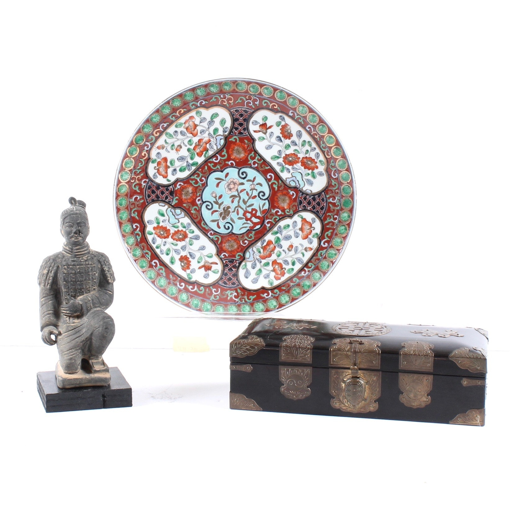 Chinoiserie Tea Caddy, Ceramic Plate, and Reproduction Terracotta Soldier