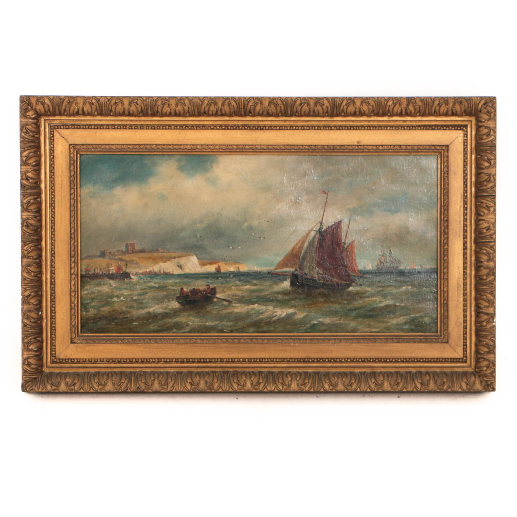 Thomas Bush Hardy 1895 Oil Painting on Canvas Fishing Boats in English Channel