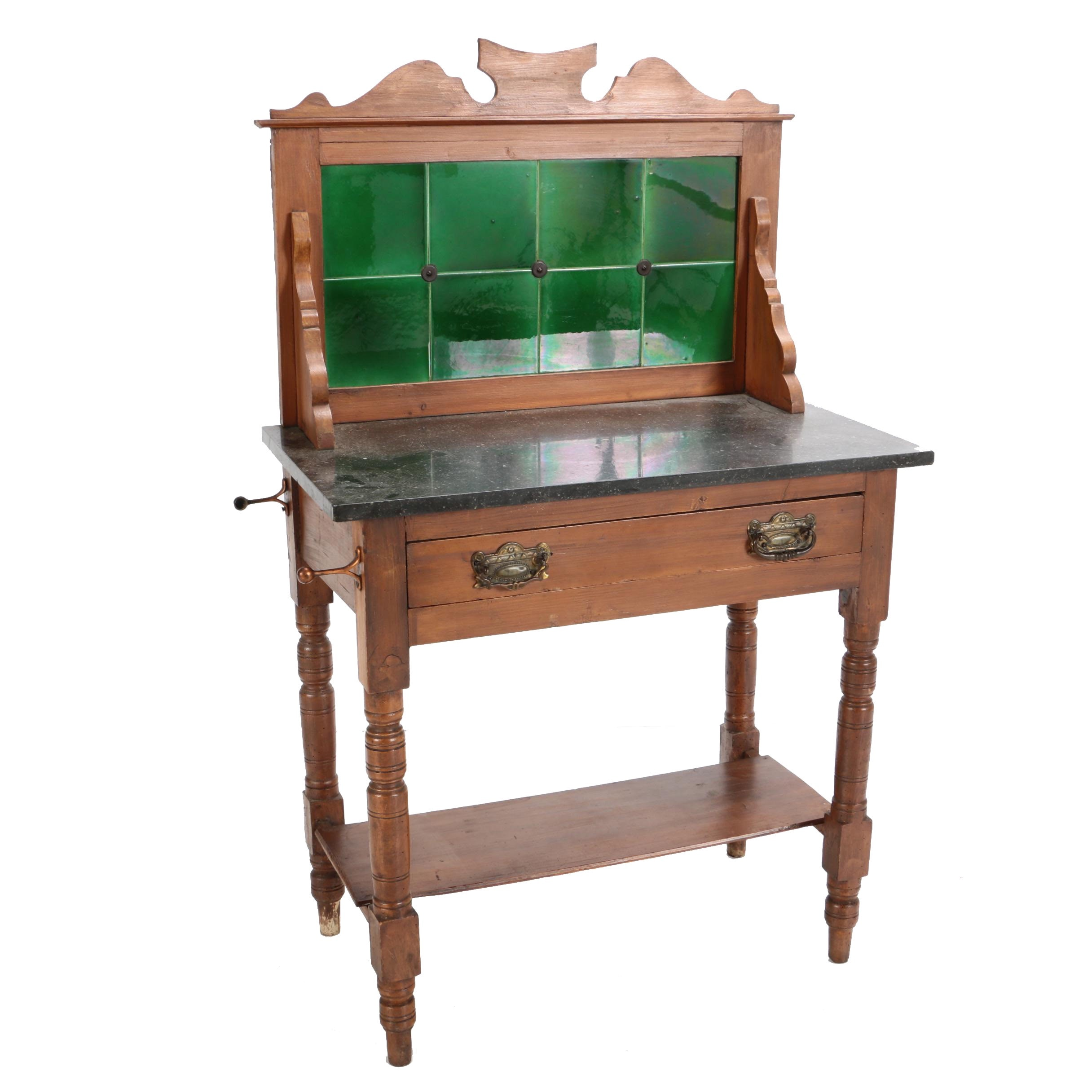 Antique Late Victorian Mahogany Washstand with Tile Backsplash