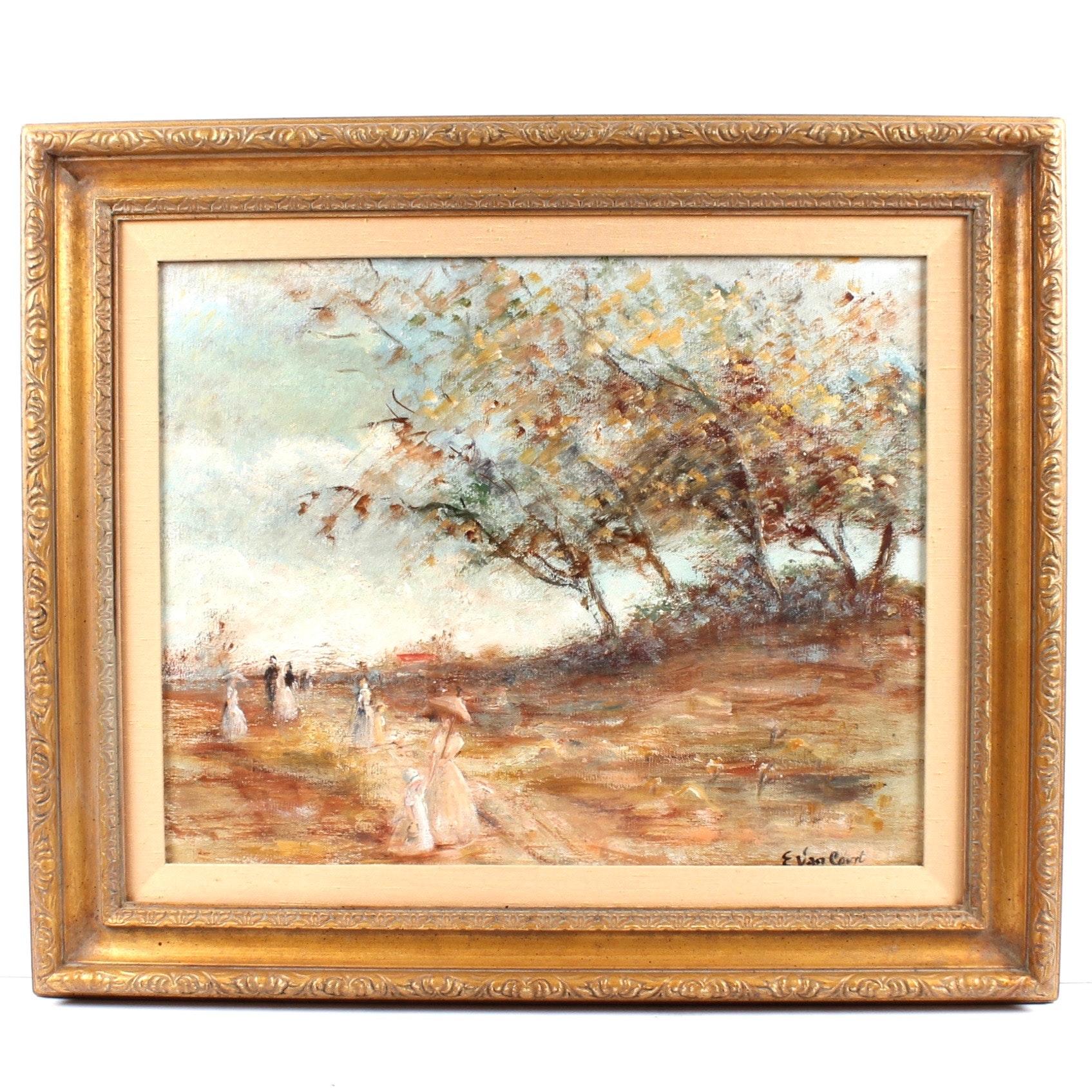 Elizabeth Van Court Oil Landscape Painting on Canvas