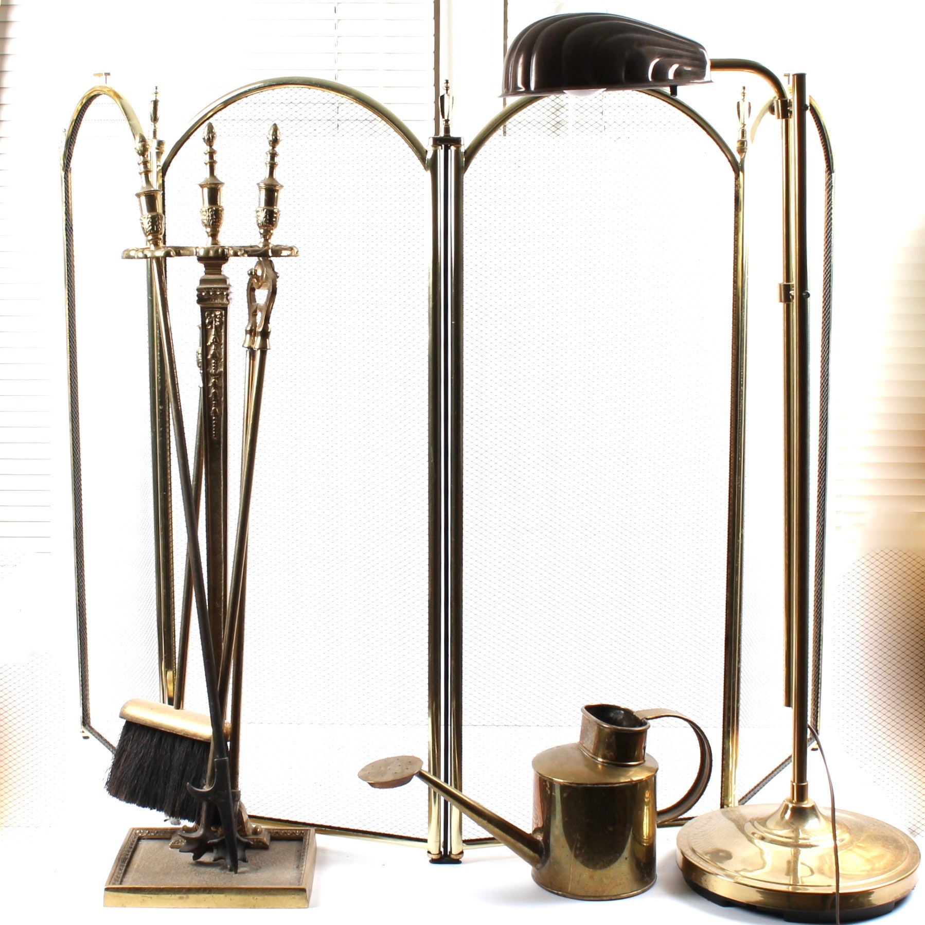 Vintage Brass Fireplace Tools and Reading Lamp