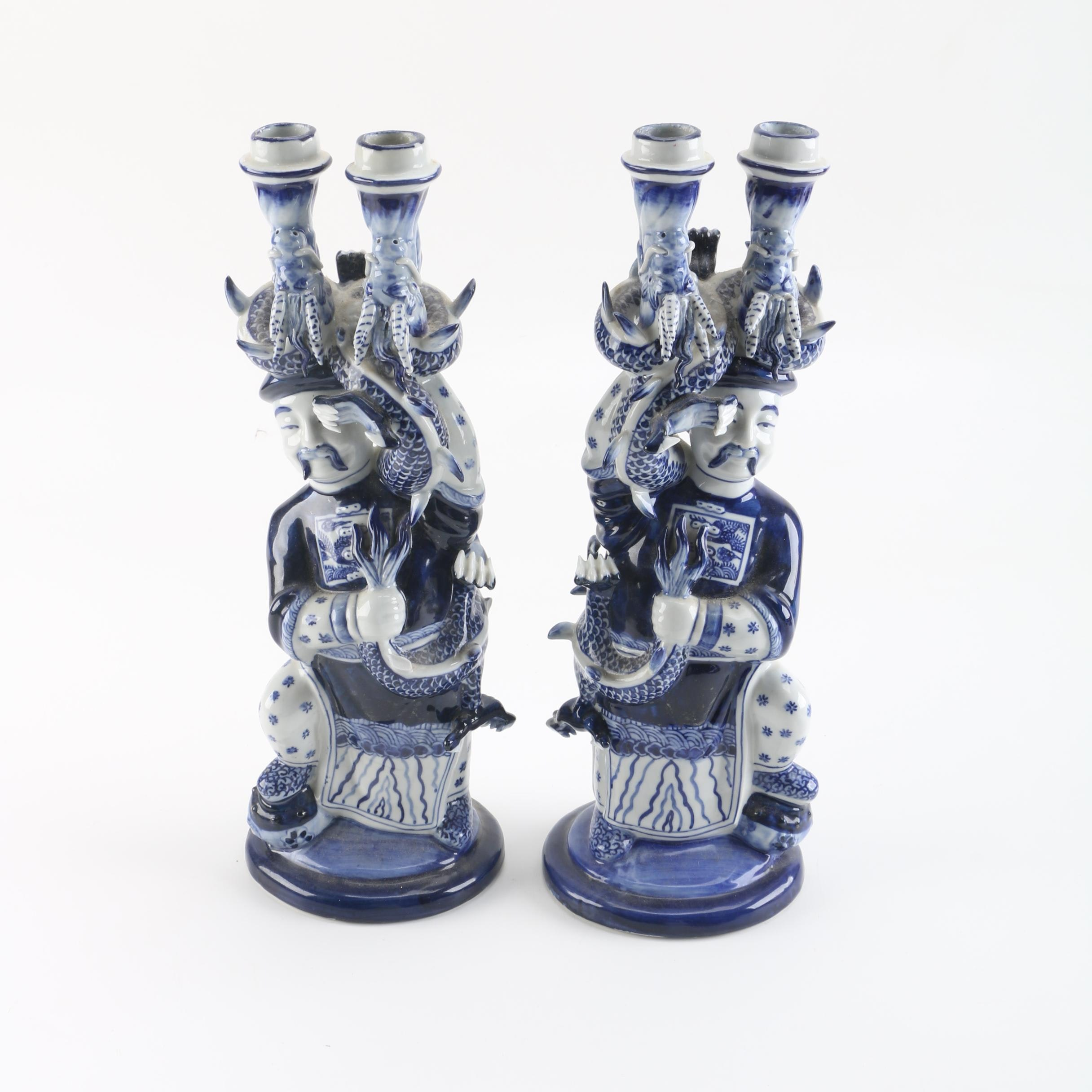 Blue and White Figurative Chinese Candlesticks