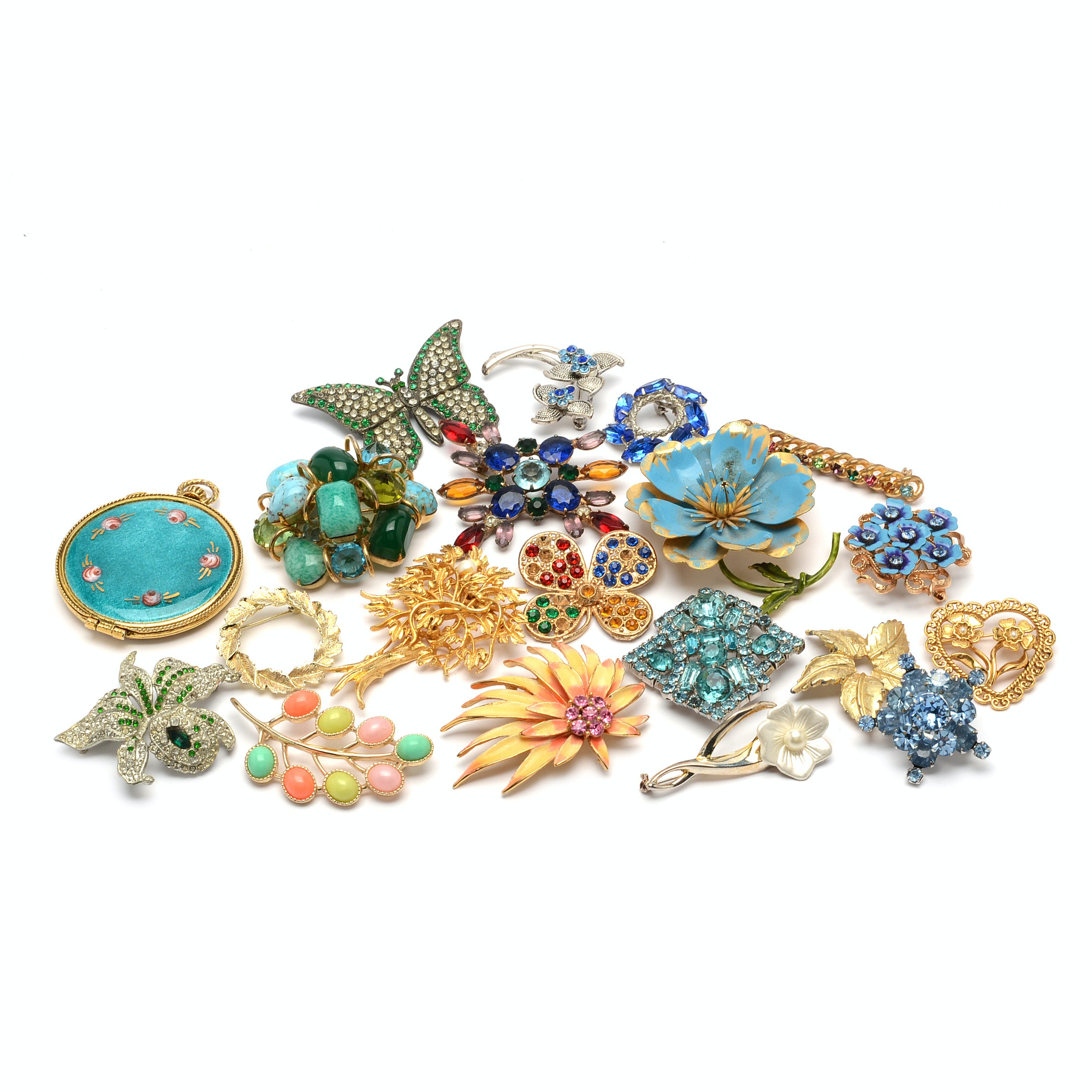 Selection of Gold and Silver Tone Brooches Including Coro with Enameled Compact