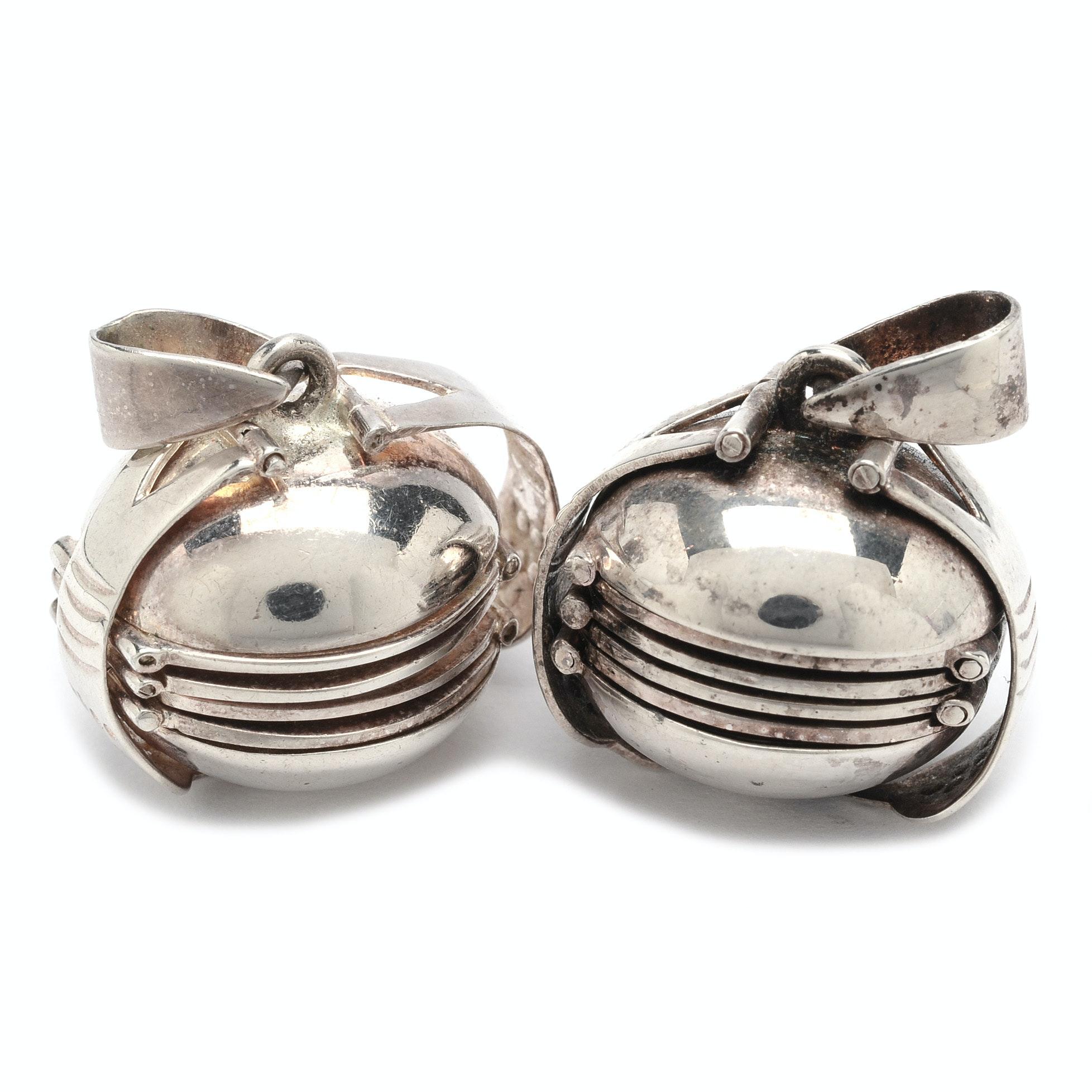 Pair of Sterling Silver Locket Pendants